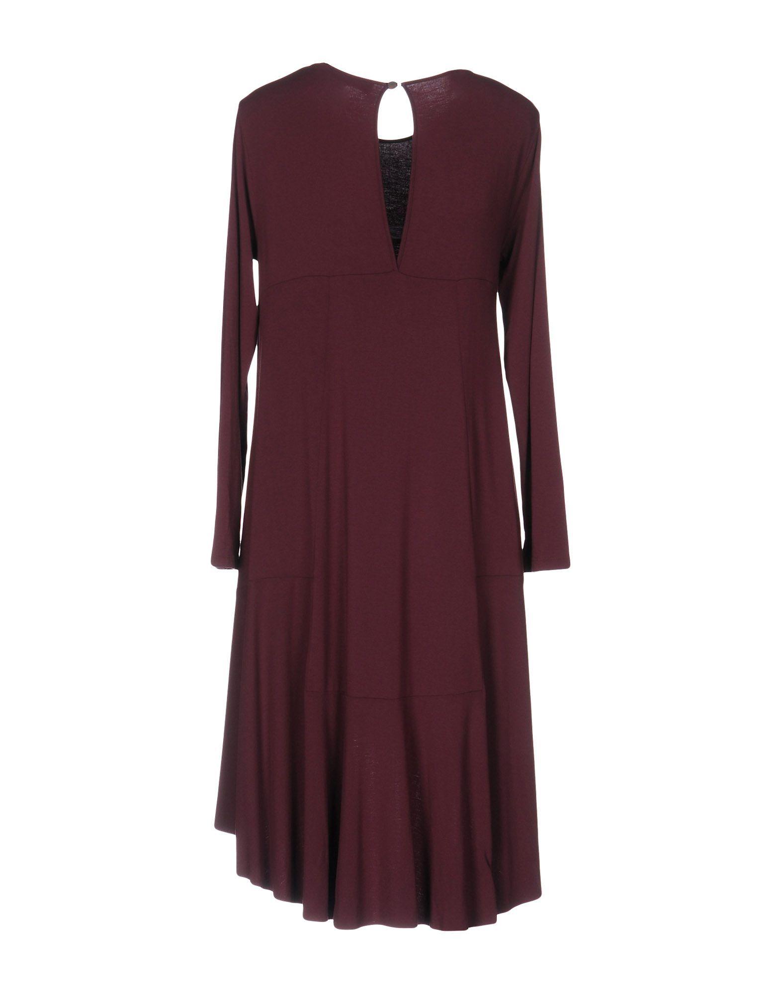 Manila Grace Denim Deep Purple Modal Long Sleeve Dress