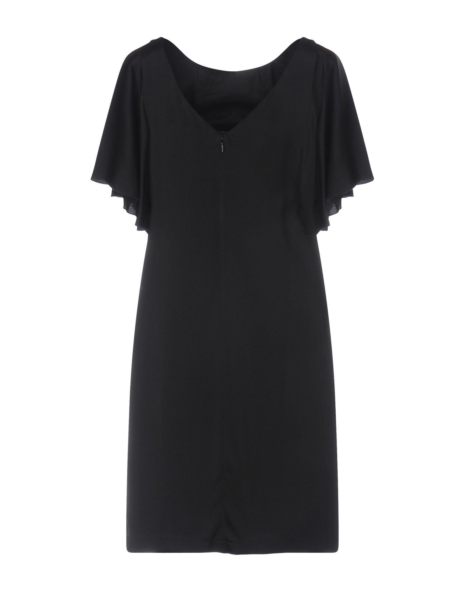 Manila Grace Black Crepe Short Sleeve Dress