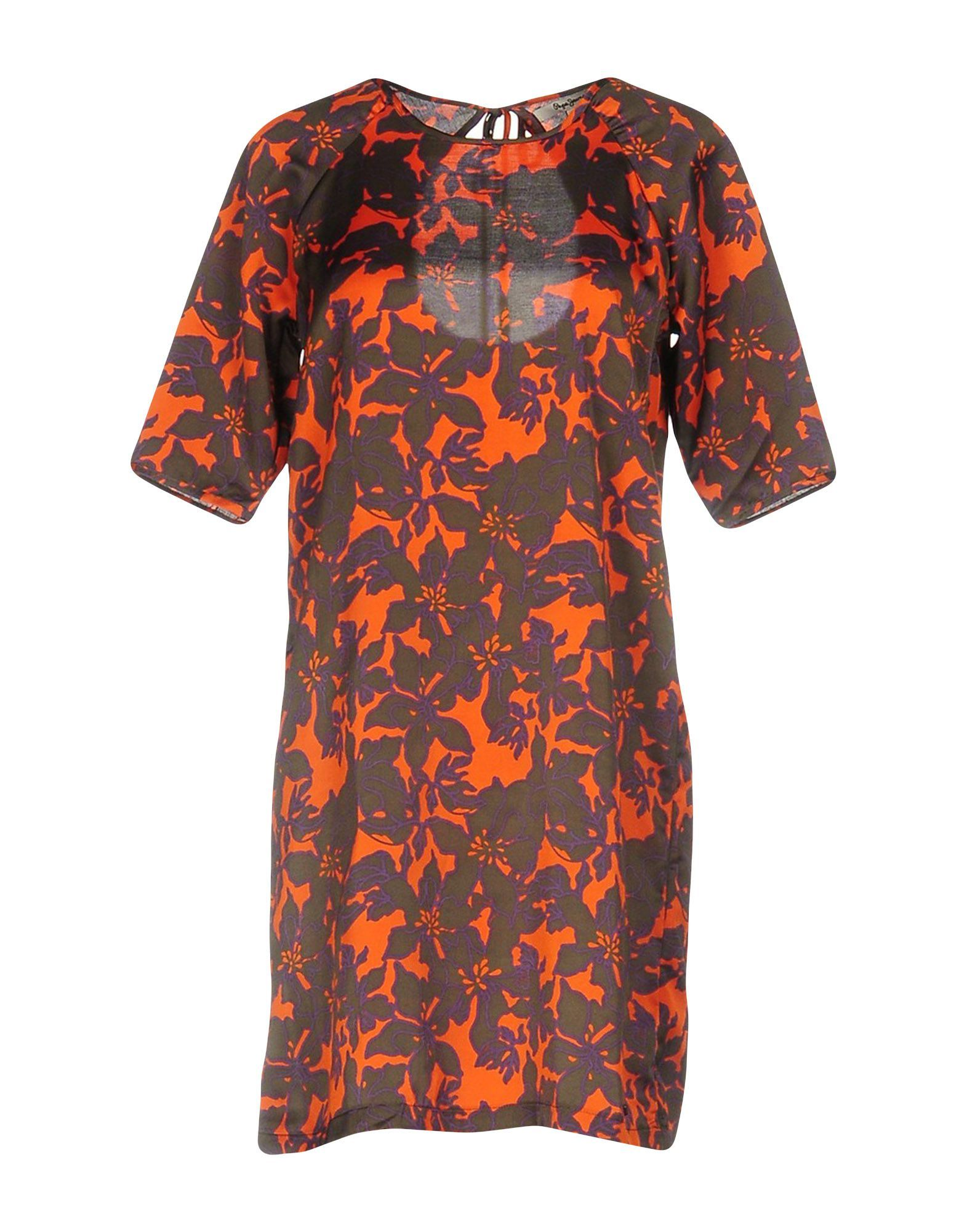 Pepe Jeans Orange Floral Design Short Sleeve Dress