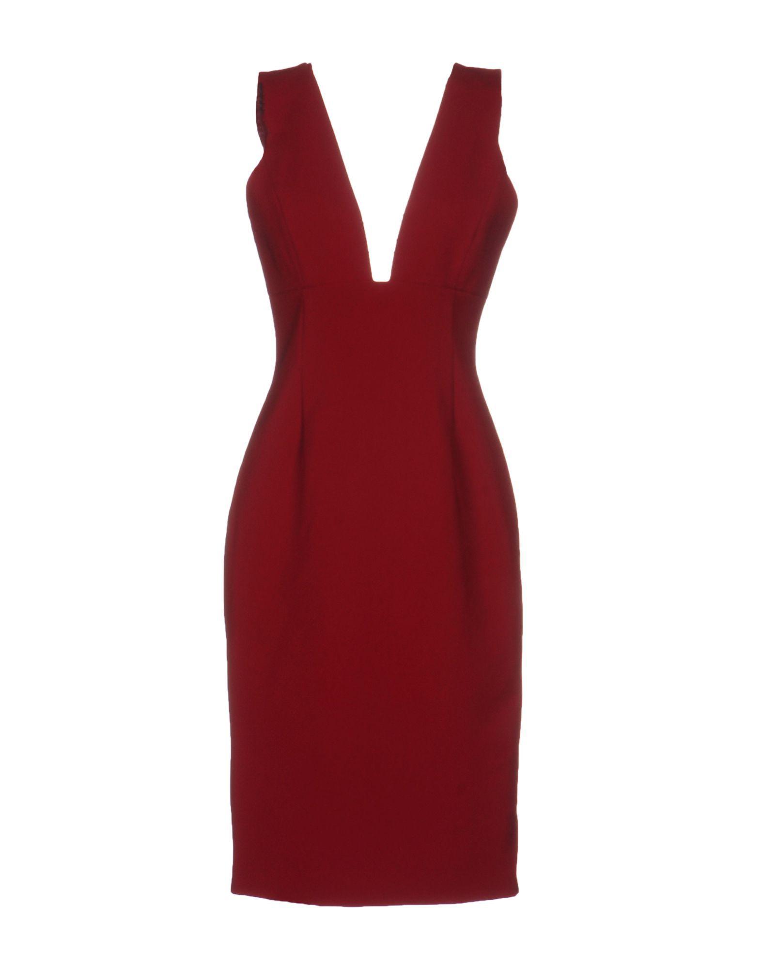 Alice + Olivia Maroon Plunge Neckline Dress