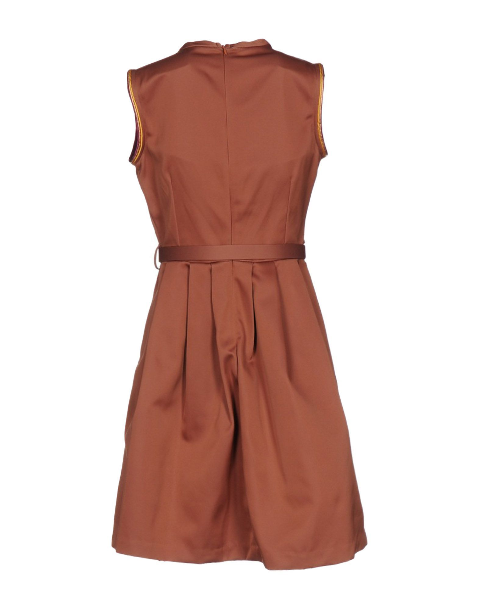 Ottod'Ame Light Brown Satin Belted Dress