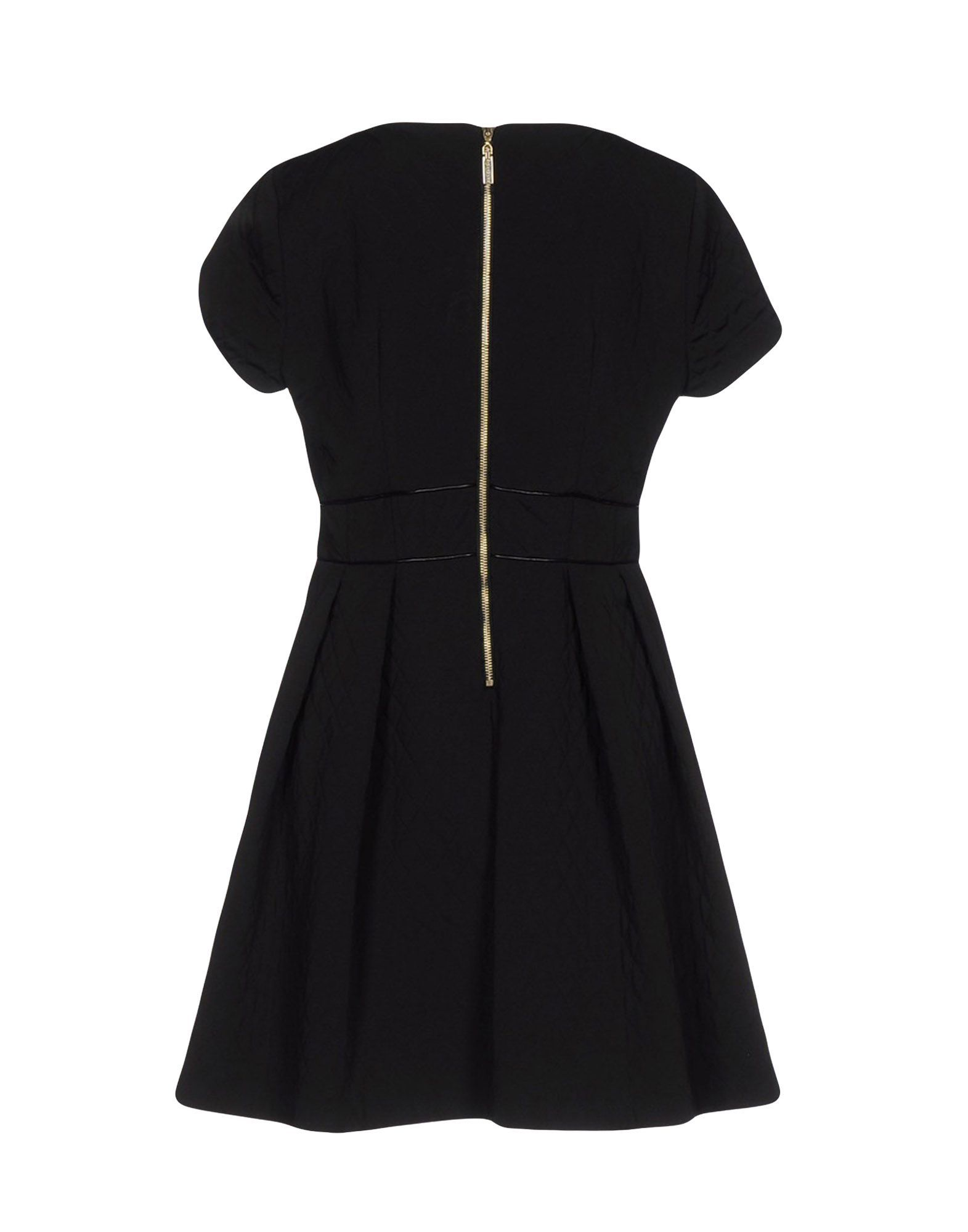 Mangano Black Faux Leather Short Sleeve Dress