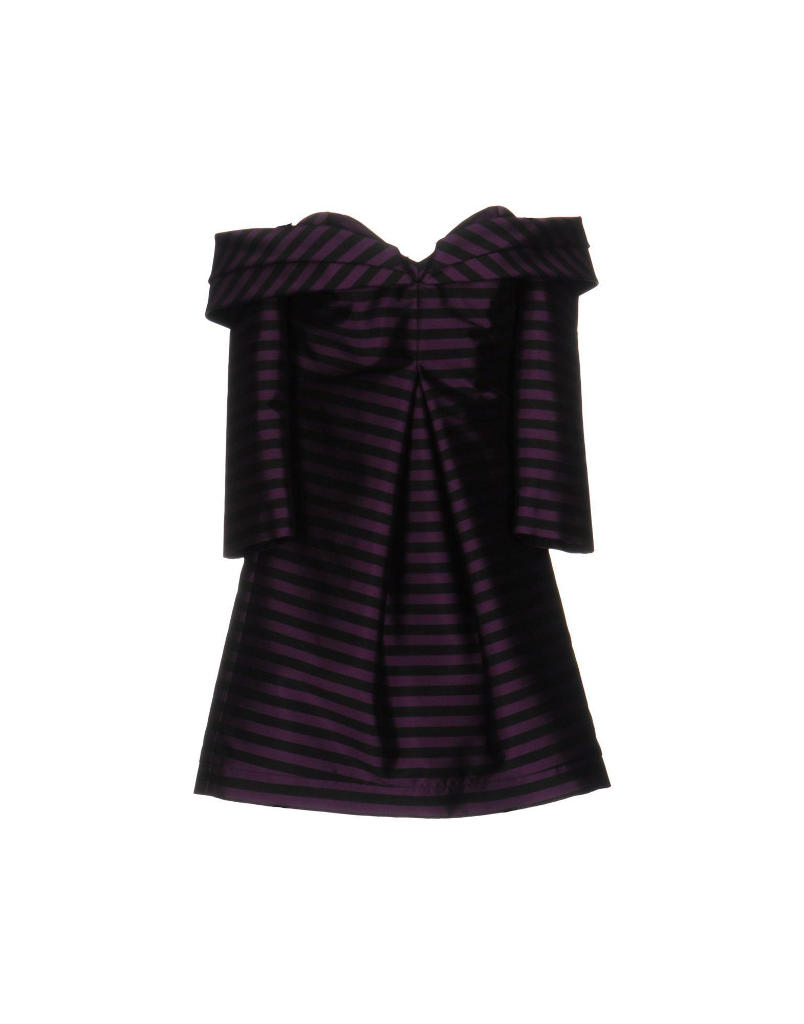 Mangano Purple Satin Off The Shoulder Dress