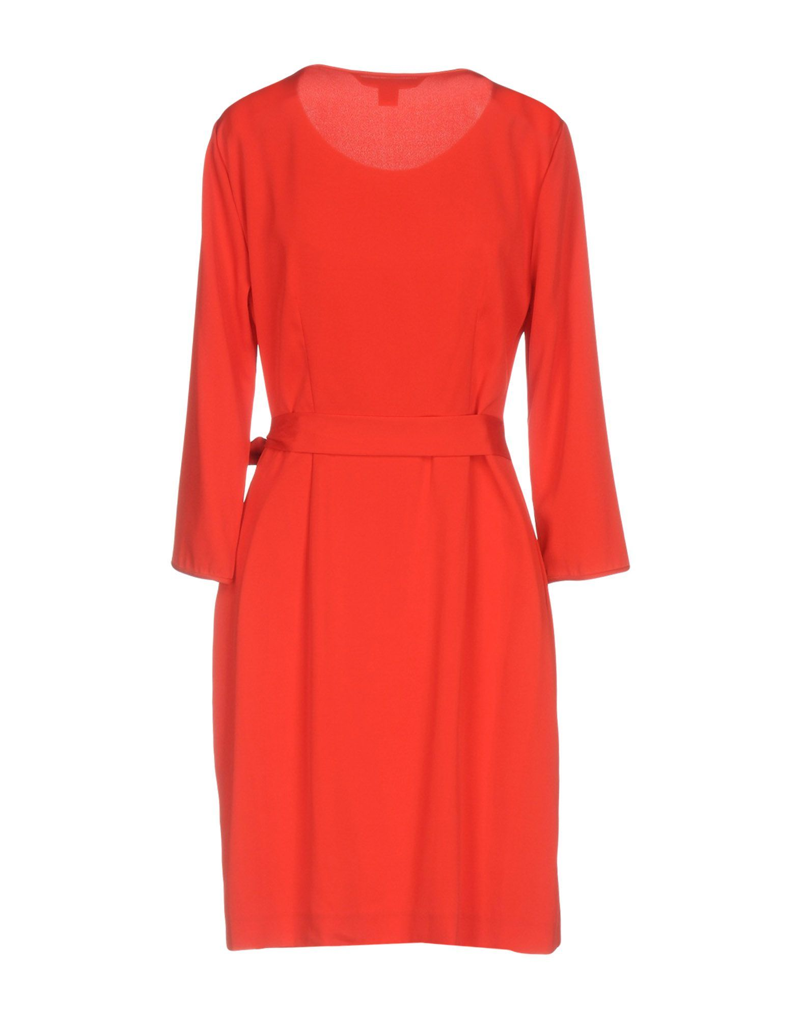 Diane Von Furstenberg Red Silk Draped Long Sleeve Dress