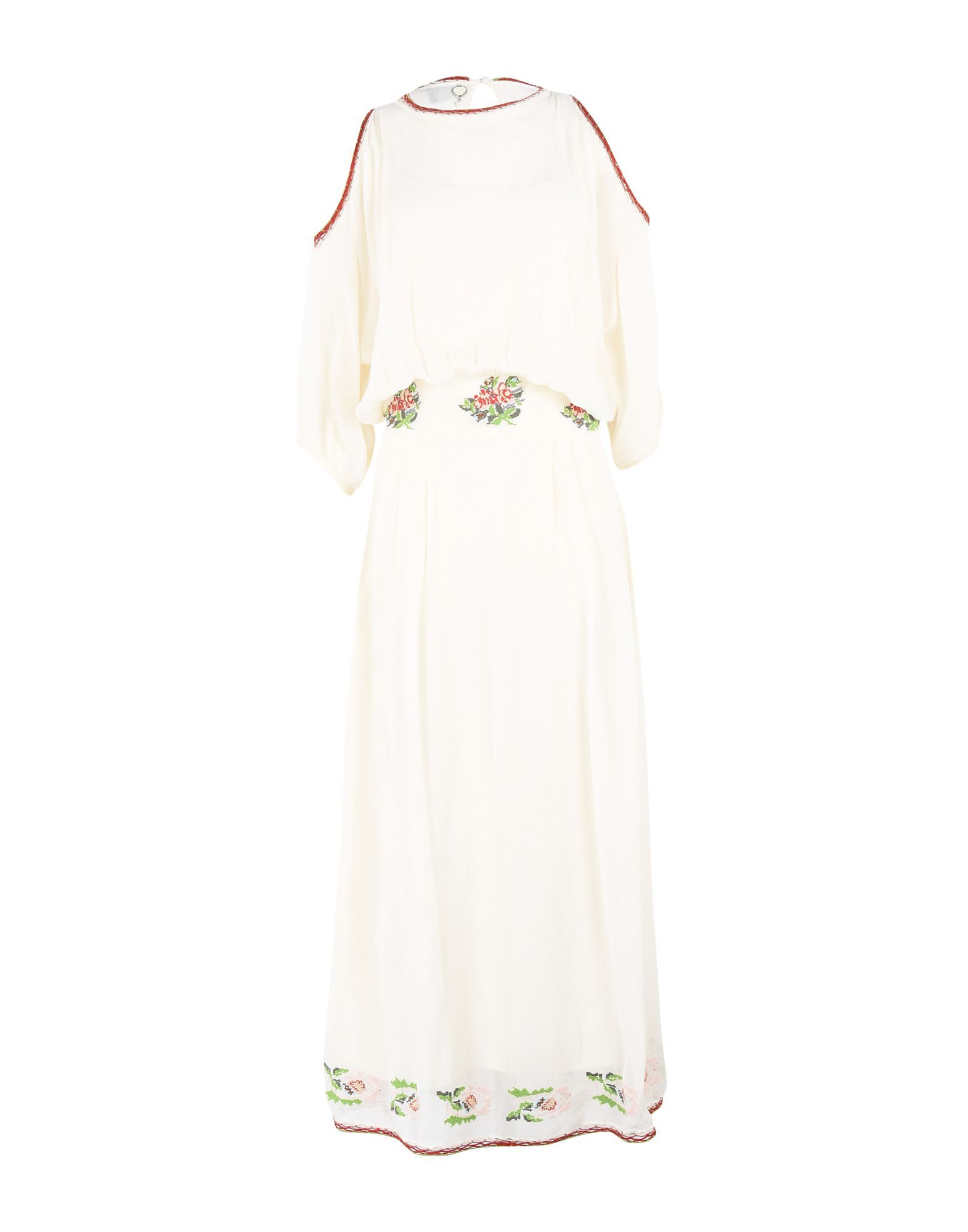 Twin-Set Jeans Ivory Crepe Dress With Embroidery Detail