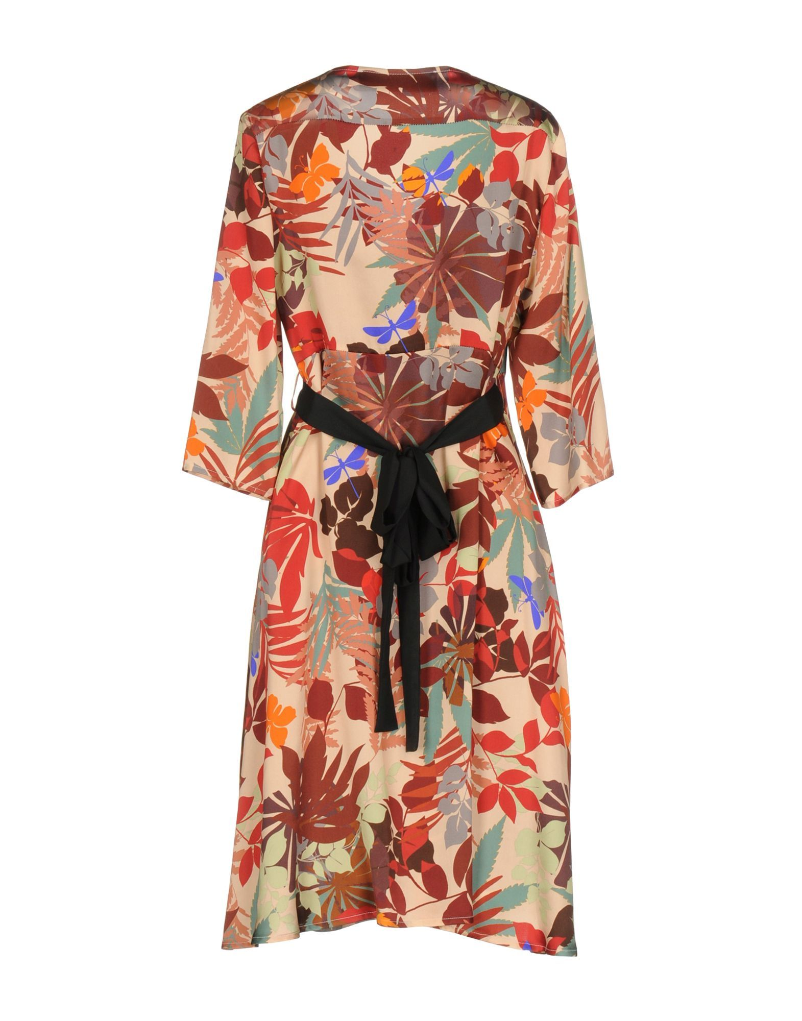 Shirtaporter Red Floral Design Silk Dress With Three Quarter Length Sleeves