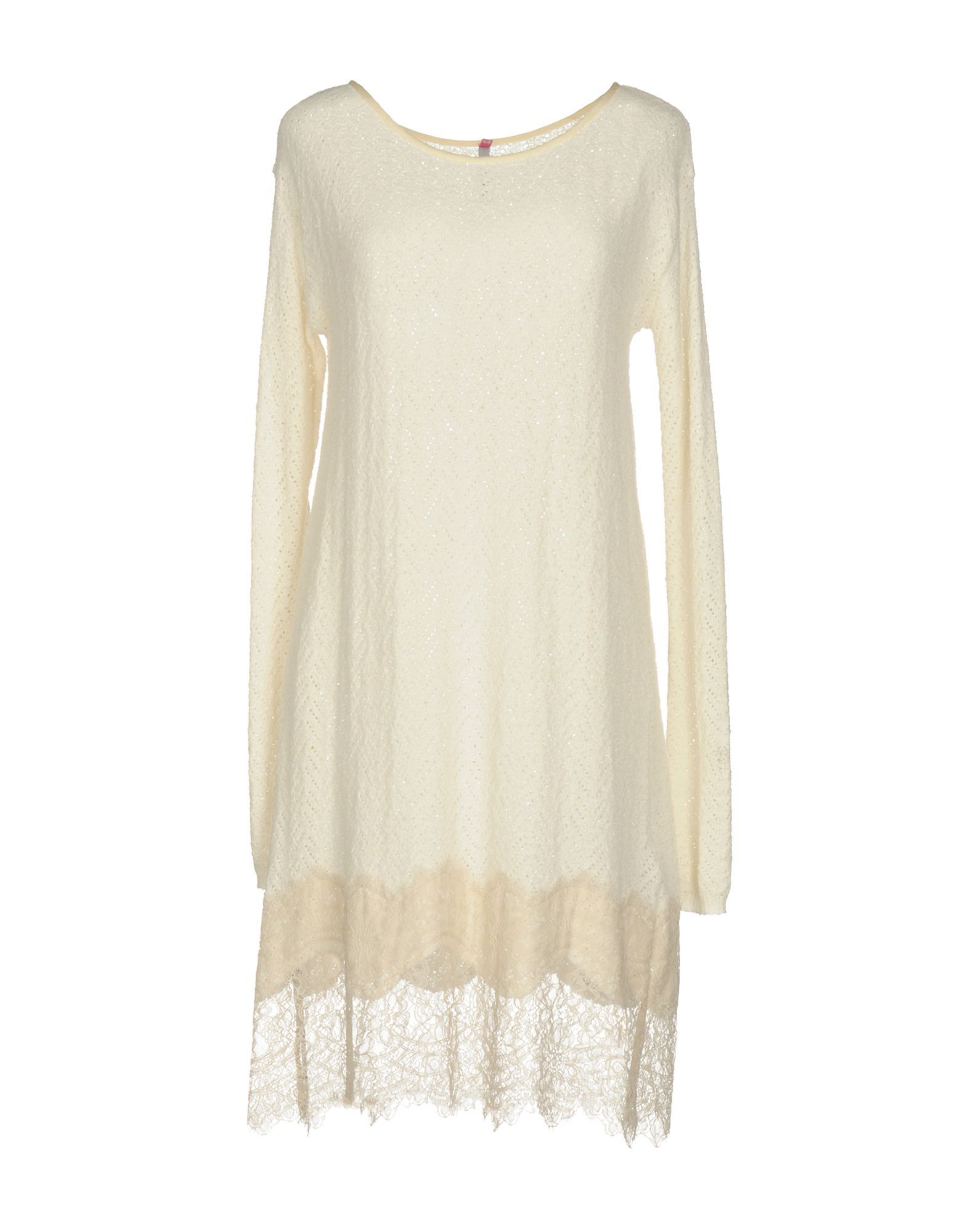 Scee By Twinset Ivory Cotton Lace Long Sleeve Dress