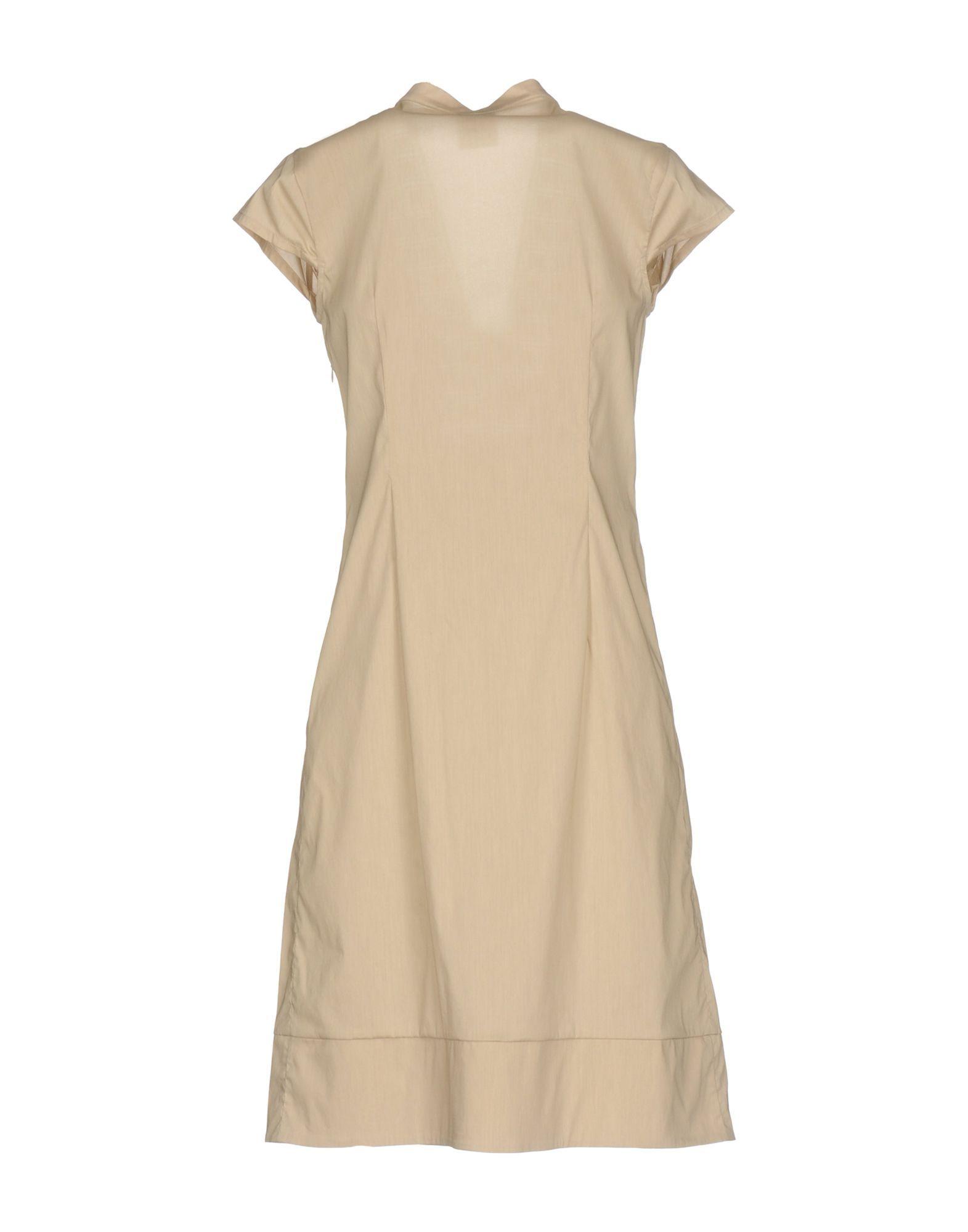 Pf Paola Frani Beige Cotton Short Sleeve Dress