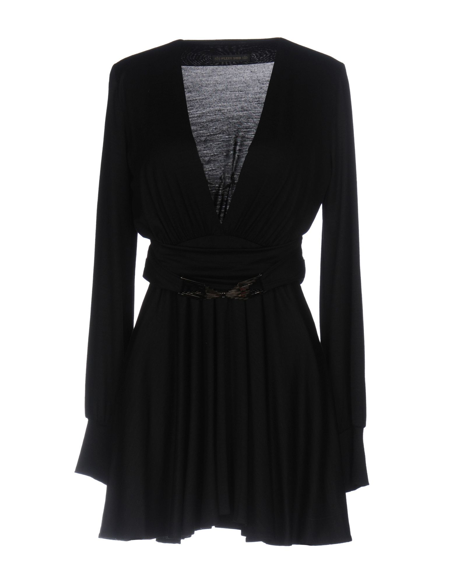 Plein Sud Black Virgin Wool Long Sleeve Dress