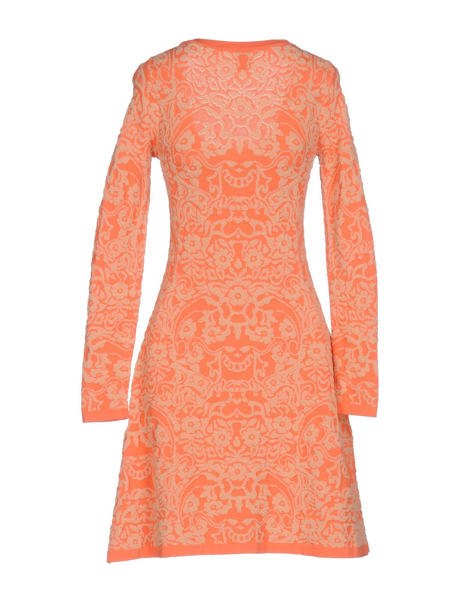 M Missoni Coral Knit Long Sleeve Dress
