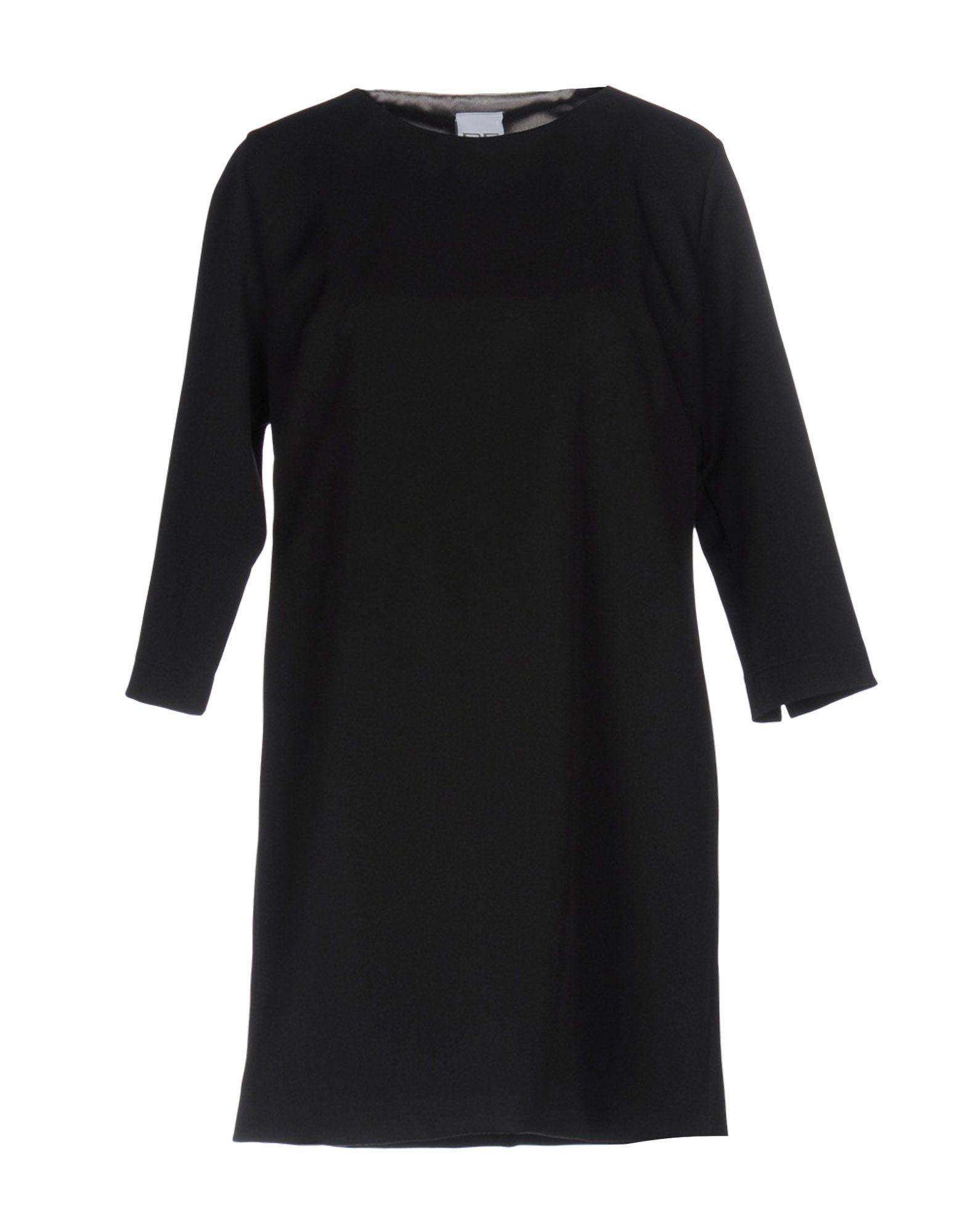 Pf Paola Frani Black Wool Three Quarter Sleeve Dress