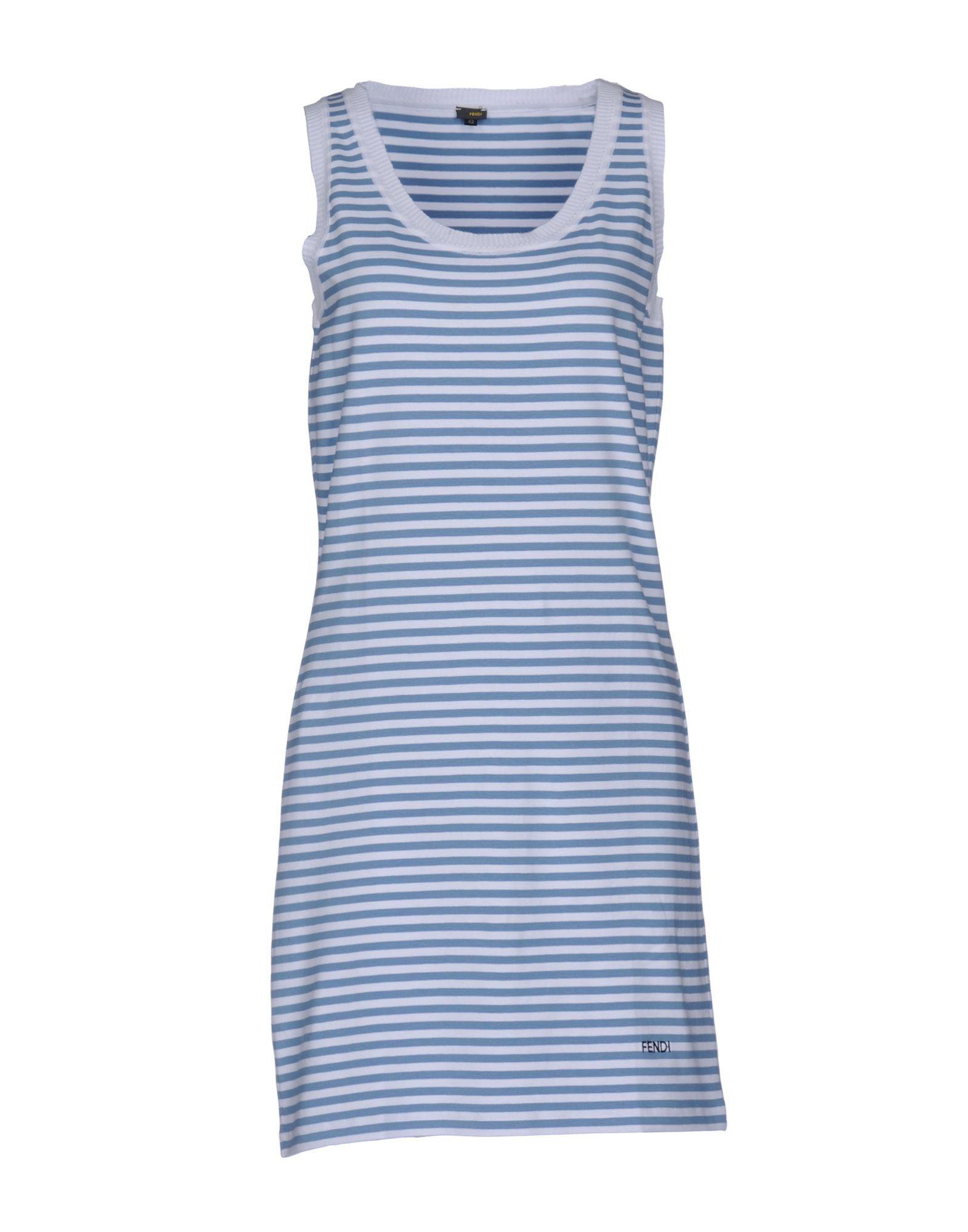 Fendi Azure Stripe Cotton Sleeveless Dress