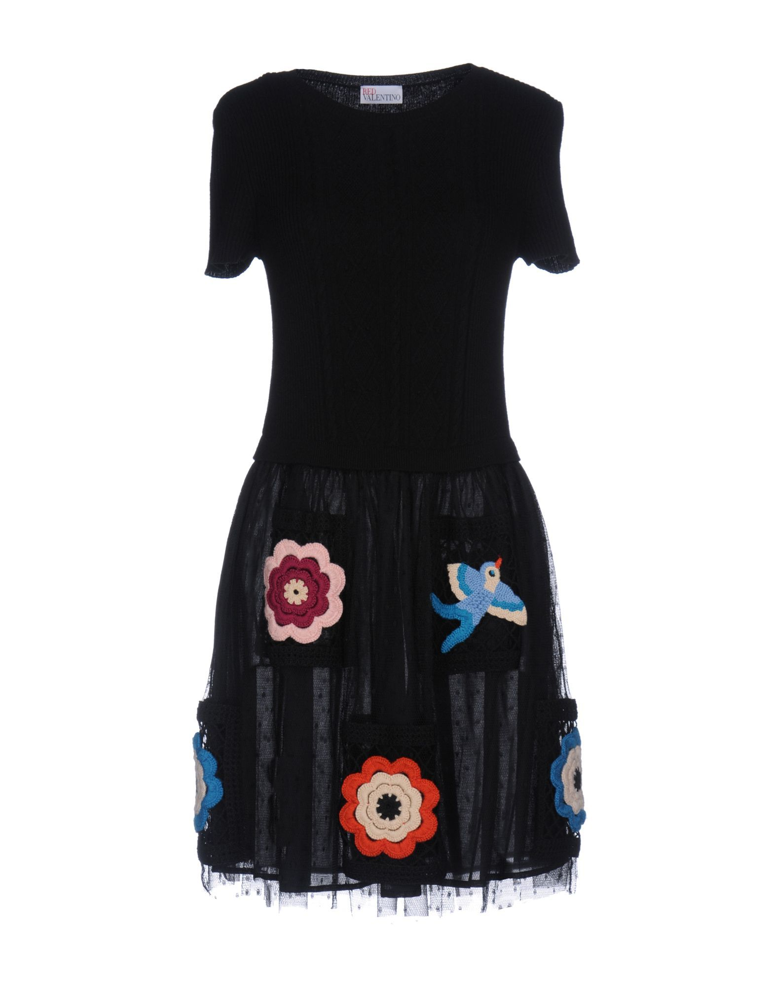 Redvalentino Black Wool Knit Dress