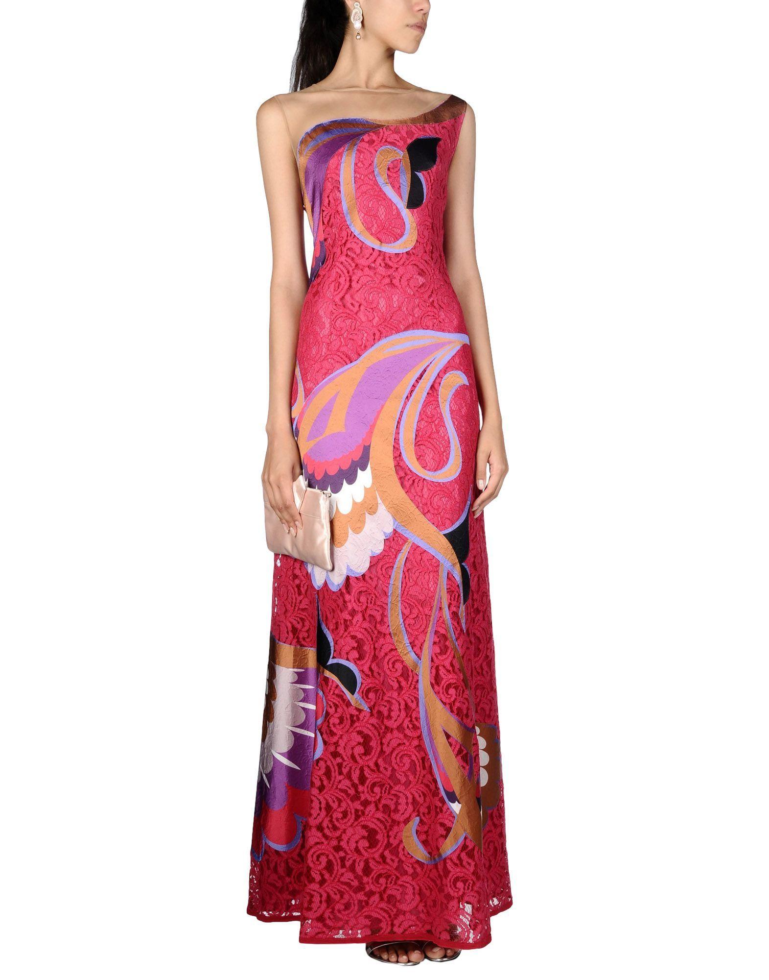 Alberta Ferretti Fuchsia Pattern Tulle And Lace Sleeveless Dress