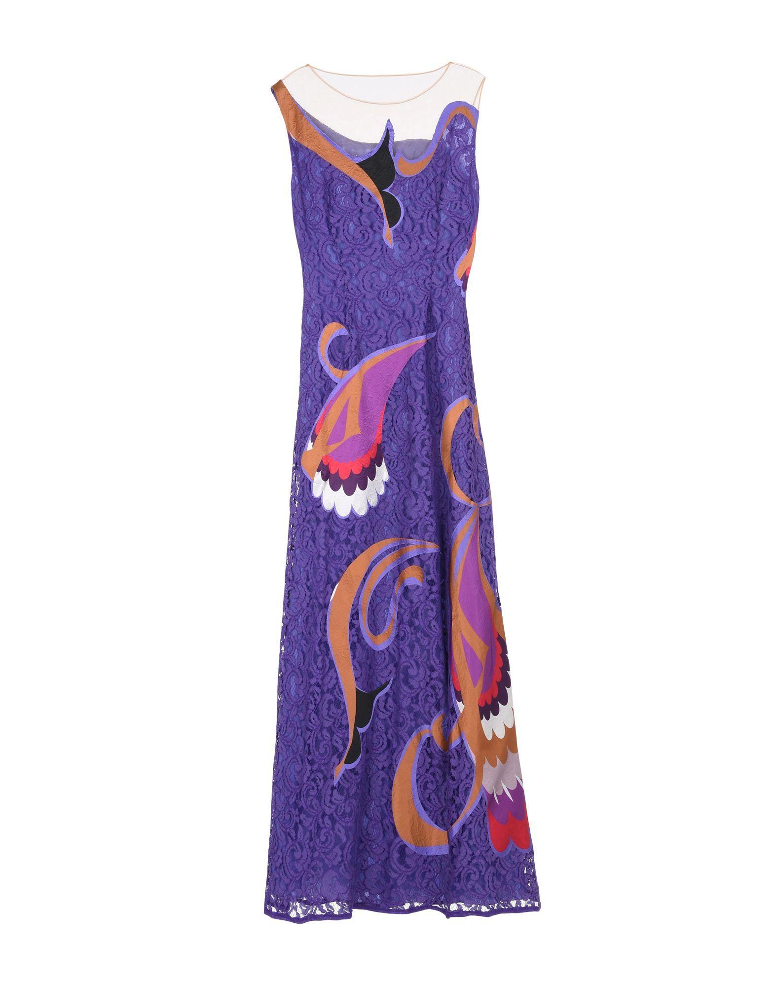 Alberta Ferretti Purple Pattern Tulle And Lace Sleeveless Dress