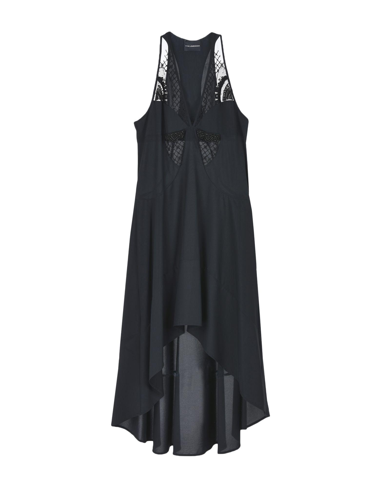 Atos Lombardini Black Crepe Beaded Sleeveless Dress