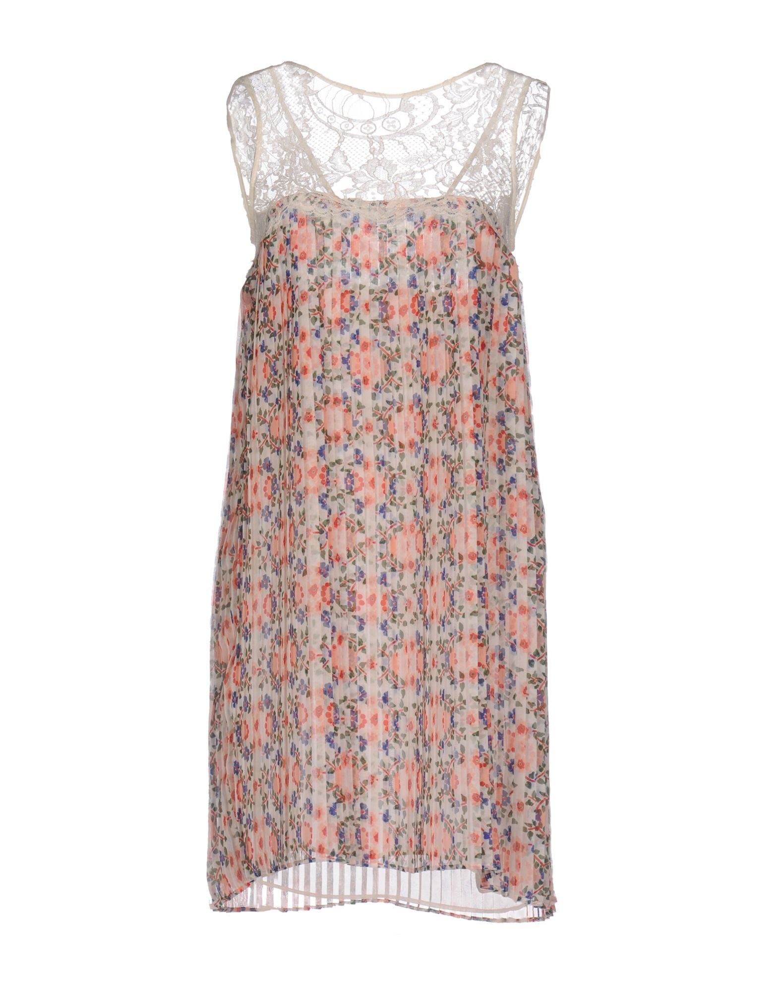 P.A.R.O.S.H. Ivory Floral Design And Lace Sleeveless Dress