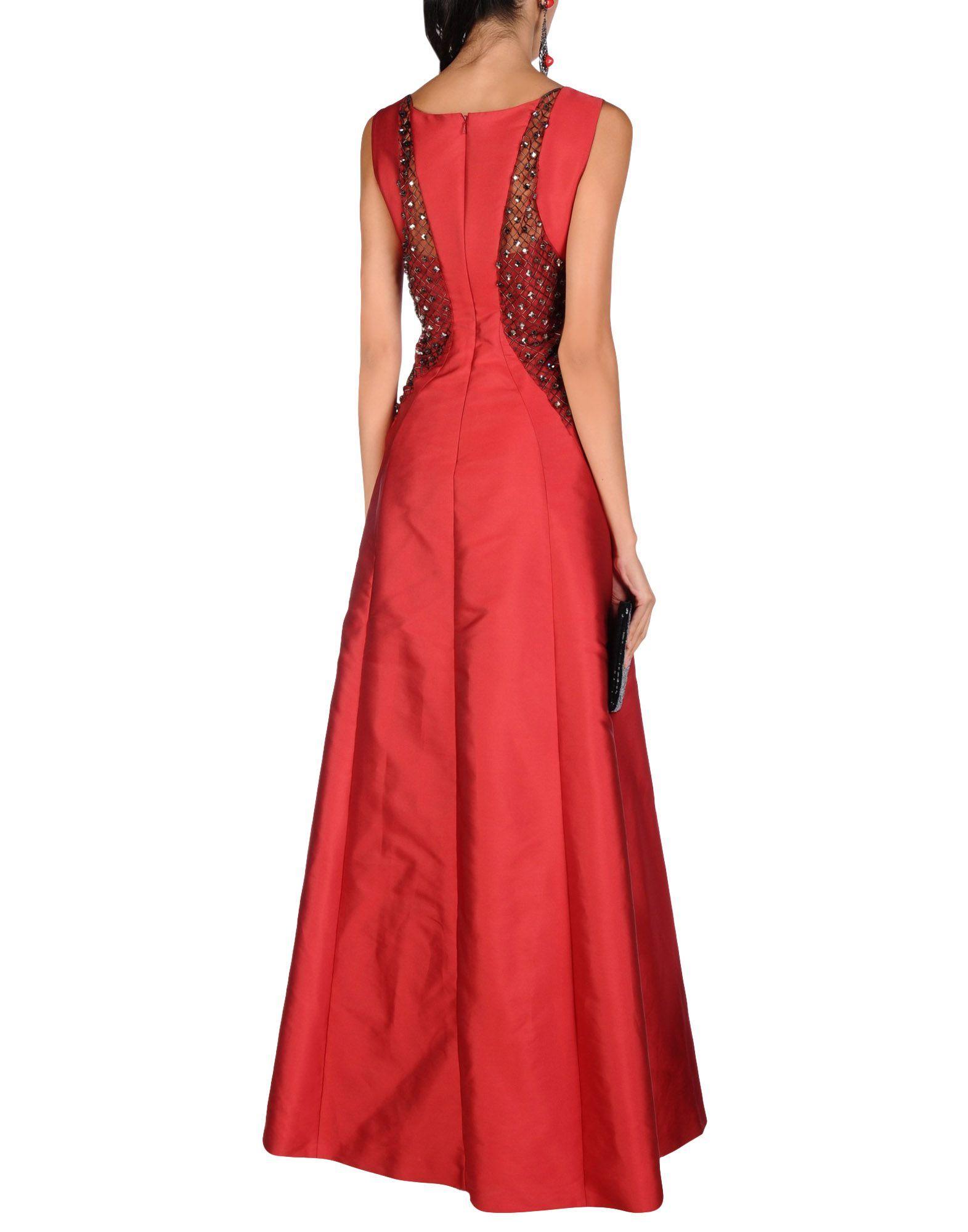 Alberta Ferretti Red Tulle And Taffeta Beaded Full Length Dress