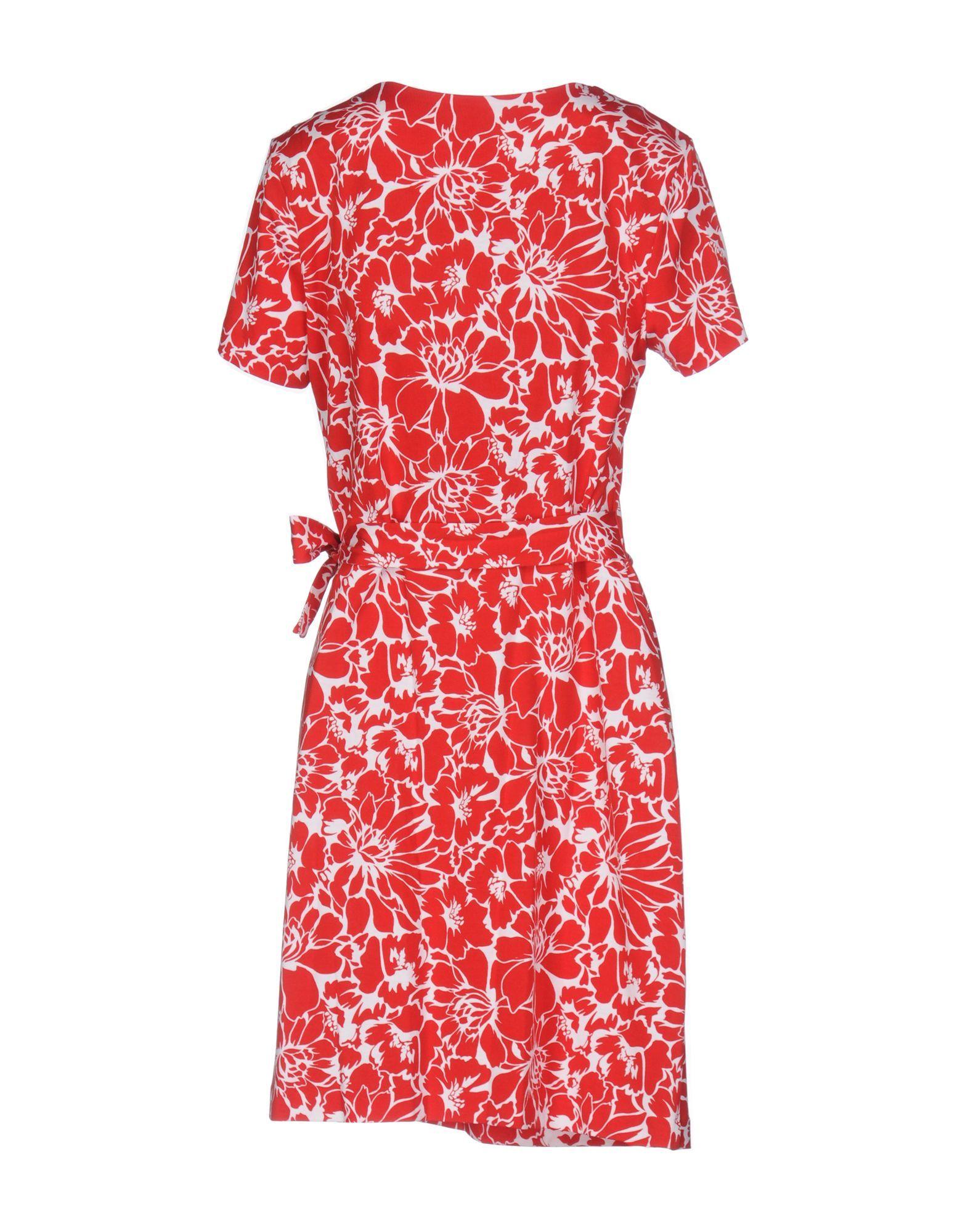 Diane Von Furstenberg Red Print Cotton Dress
