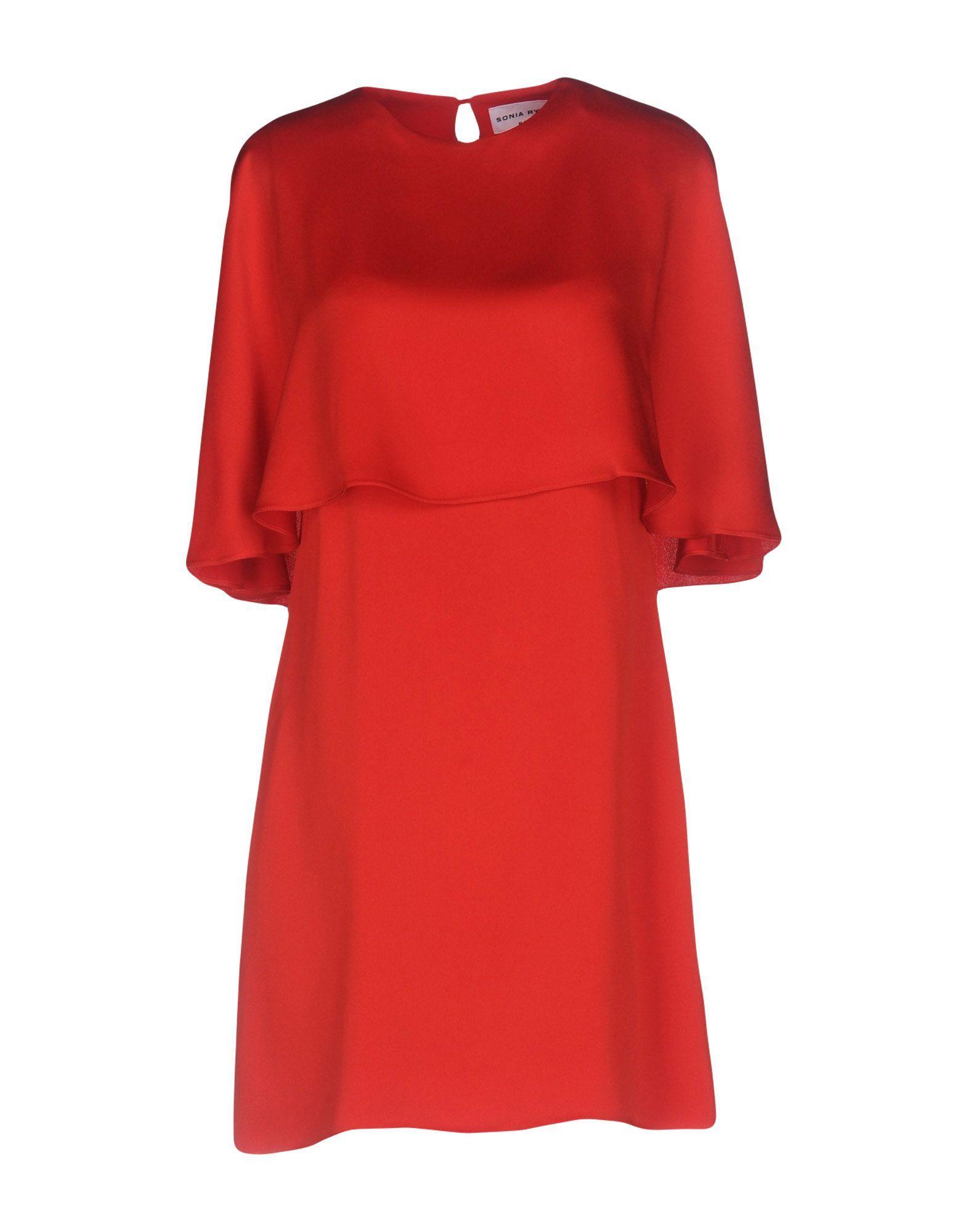 Sonia Rykiel Red Satin Short Sleeve Dress