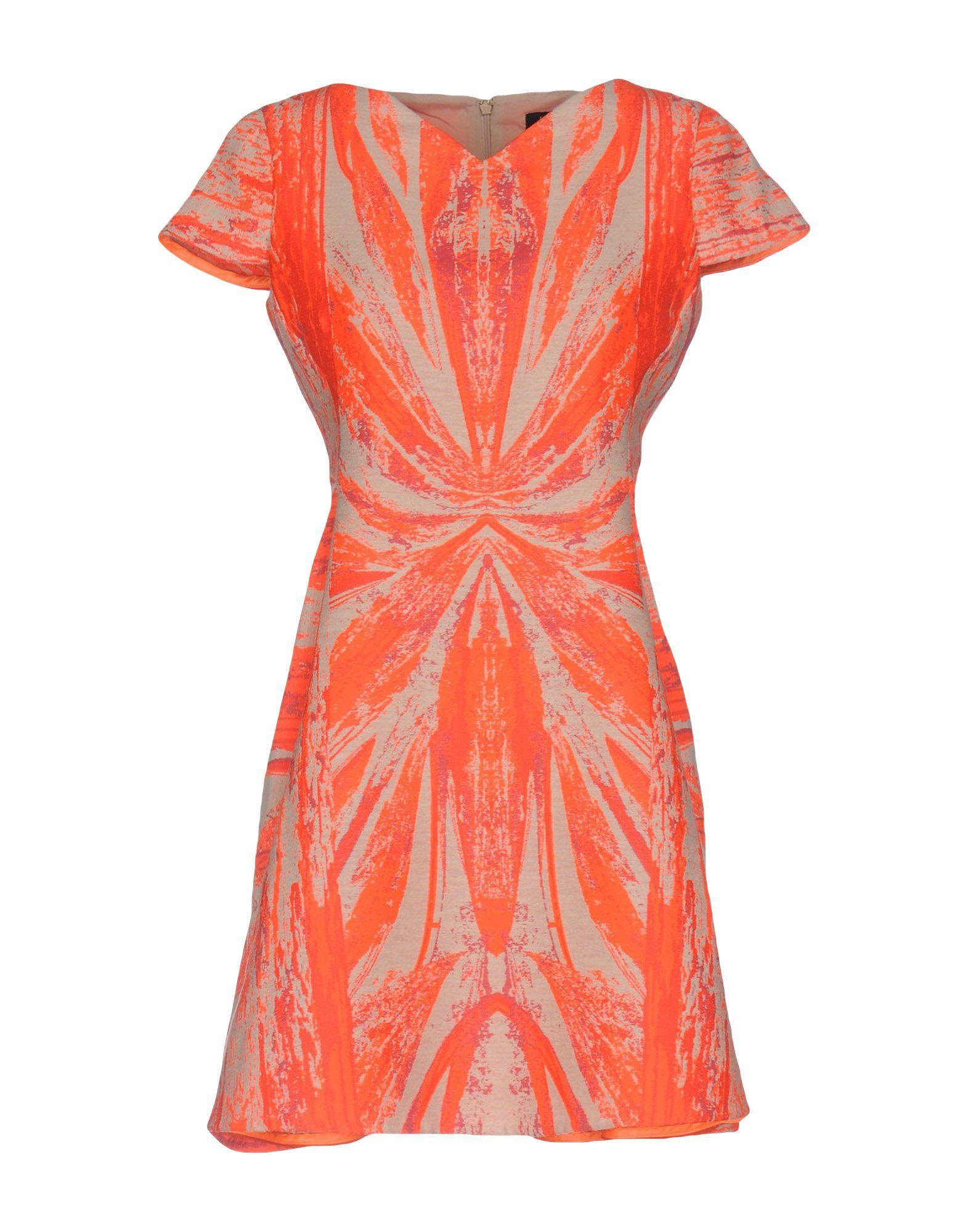 Byblos Orange Pattern Short Sleeve Dress