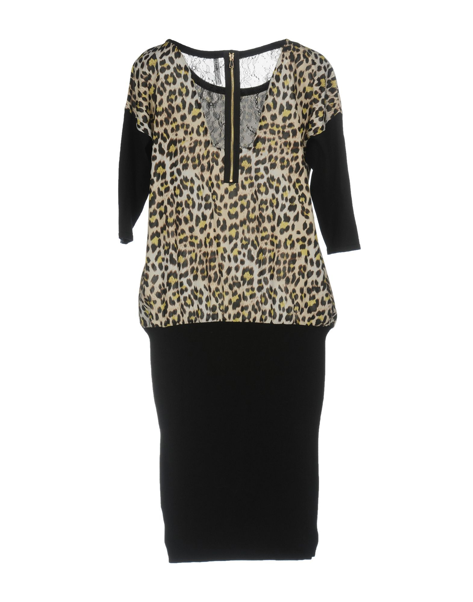 Guess Black Knit Leopard Print Dress