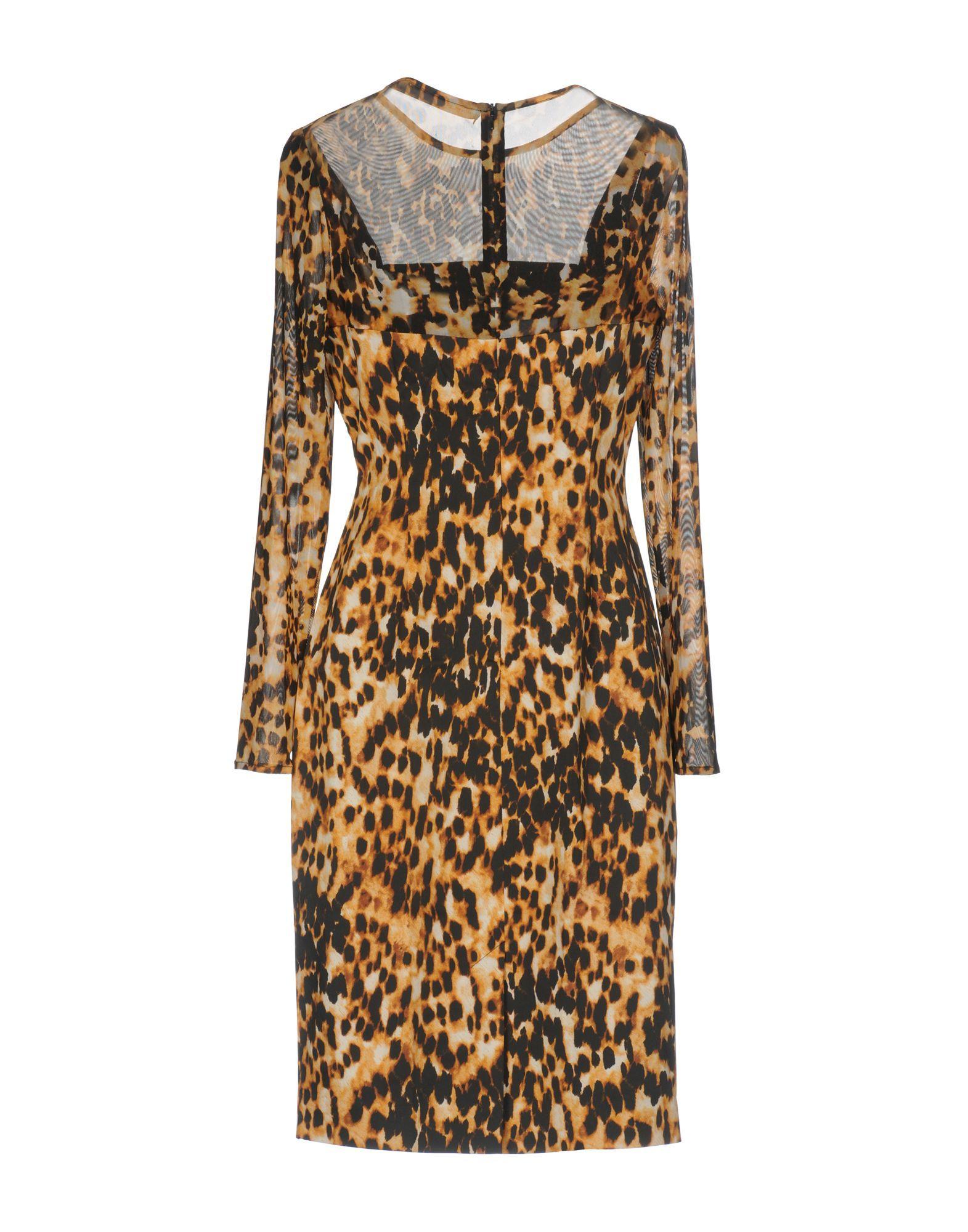 Karen Millen Sand Leopard Print Long Sleeve Dress