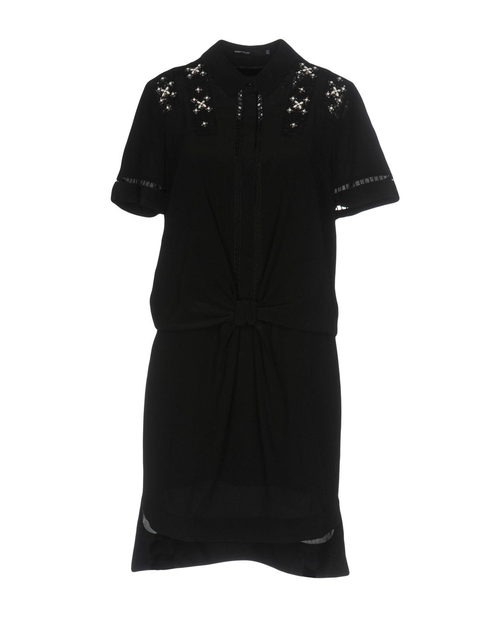 Karen Millen Black Silk Embellished Short Sleeve Dress