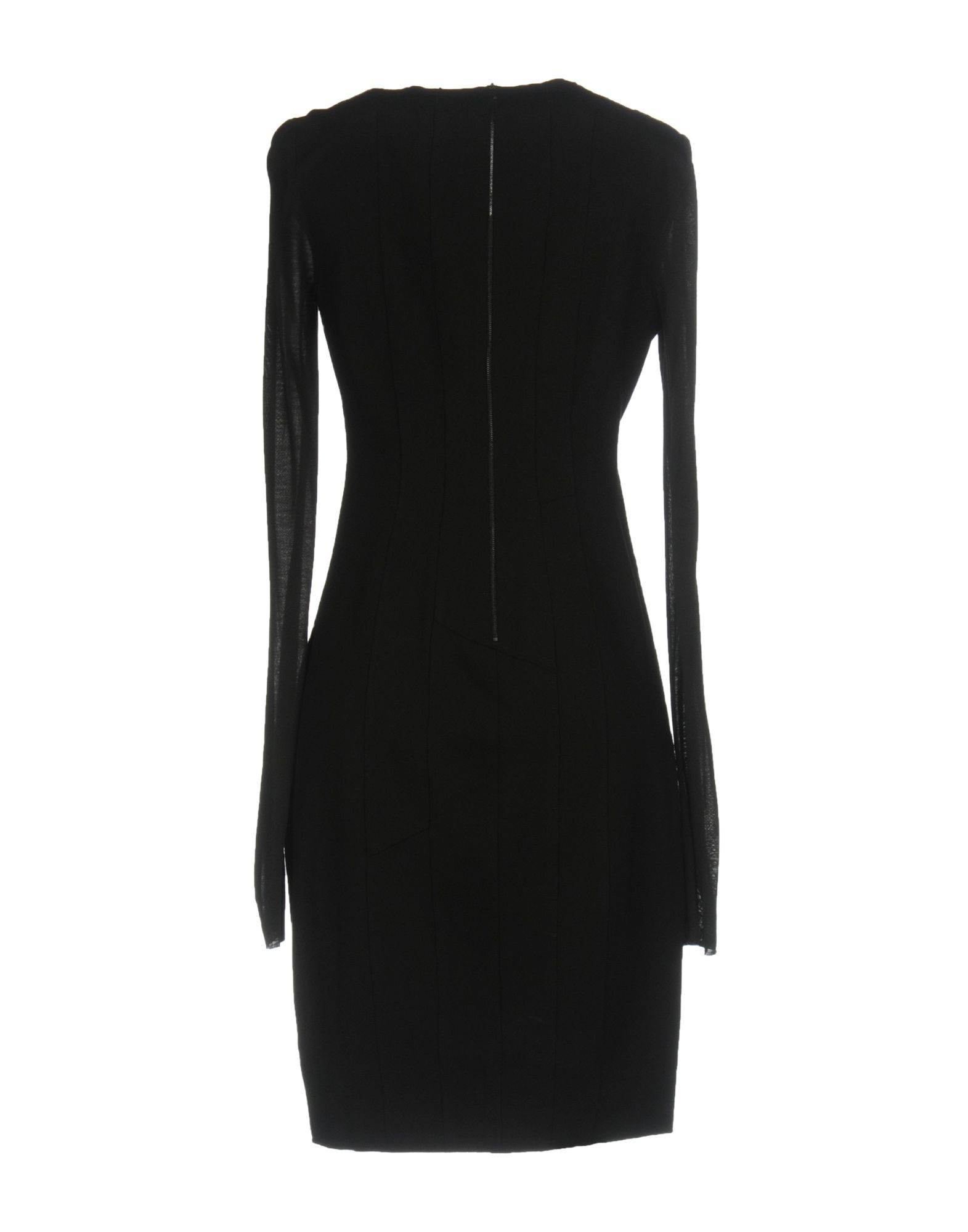 Elie Tahari Black Jersey And Leather Long Sleeve Dress