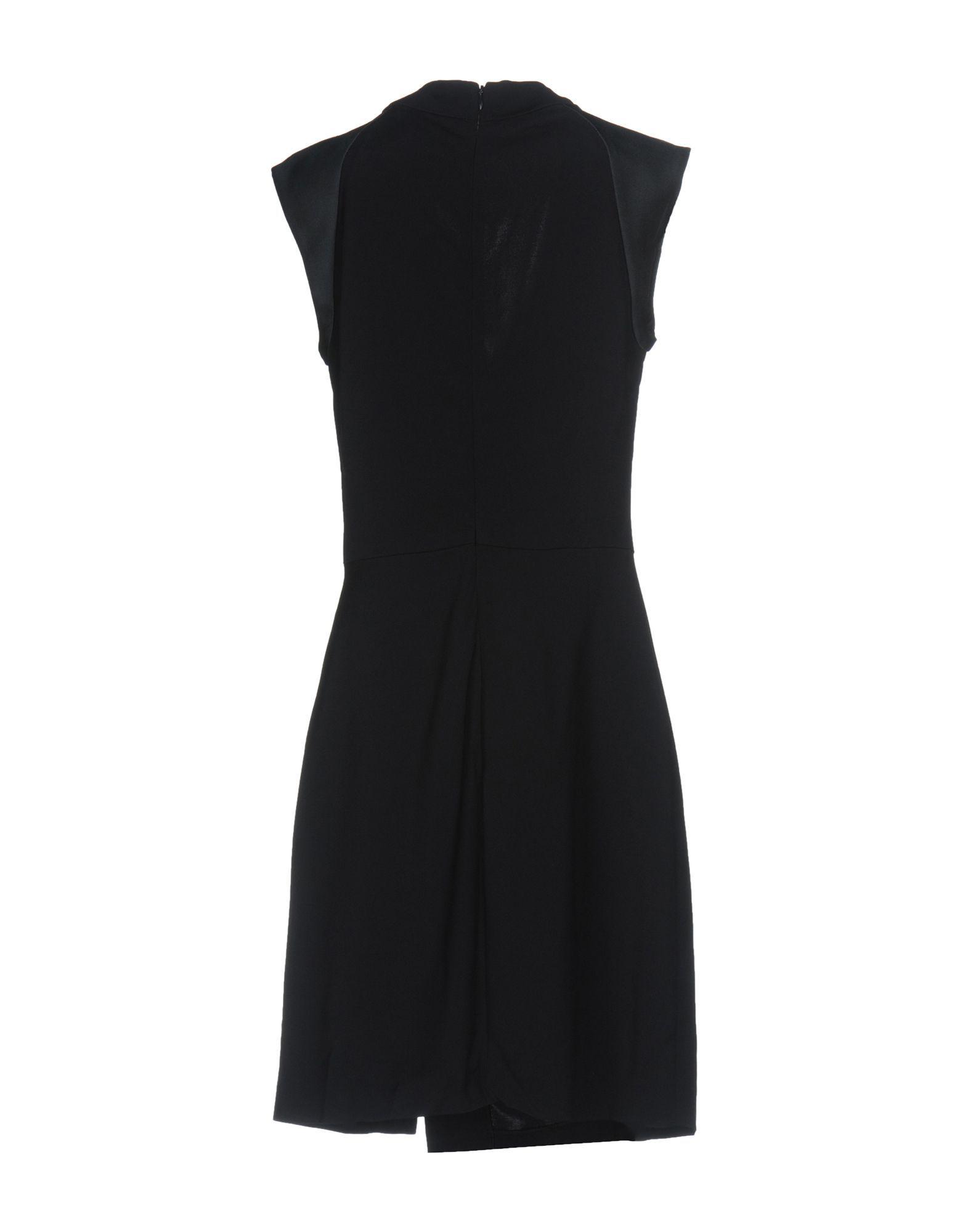 Tara Jarmon Dark Blue Crepe And Satin Sleeveless Dress