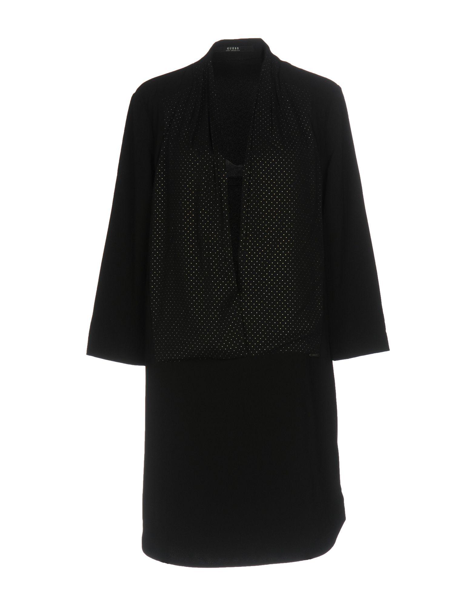 Guess Black Crepe Long Sleeve Dress
