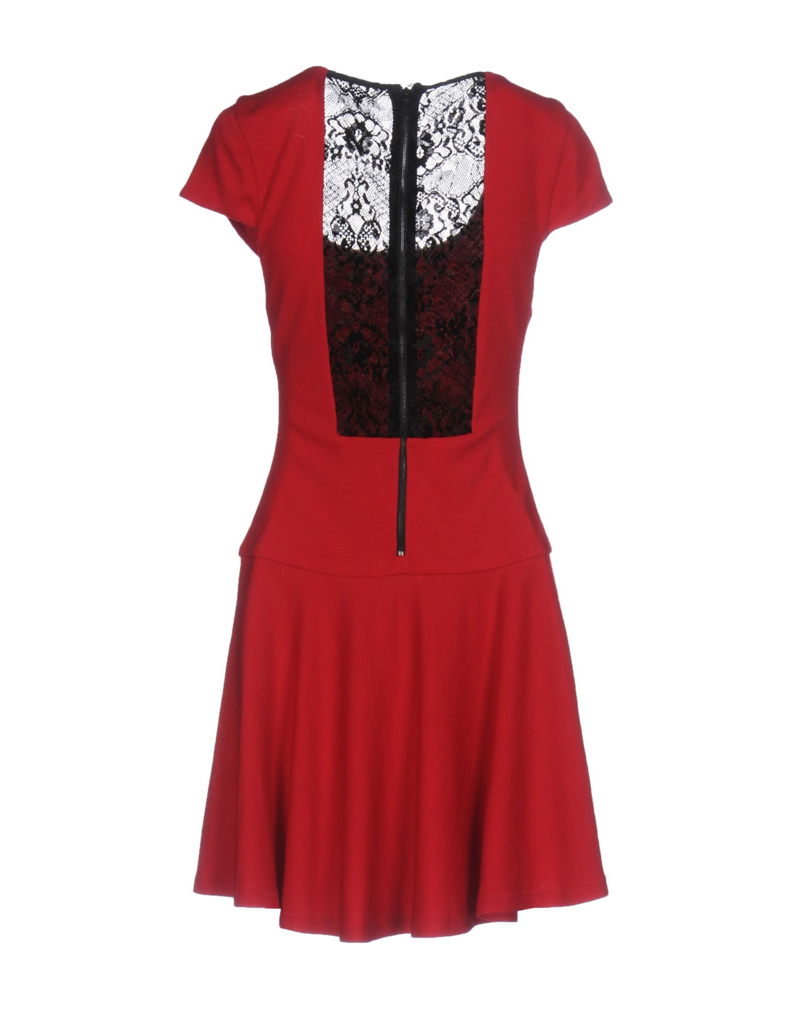 Alice + Olivia Red Wool And Lace Short Sleeve Dress