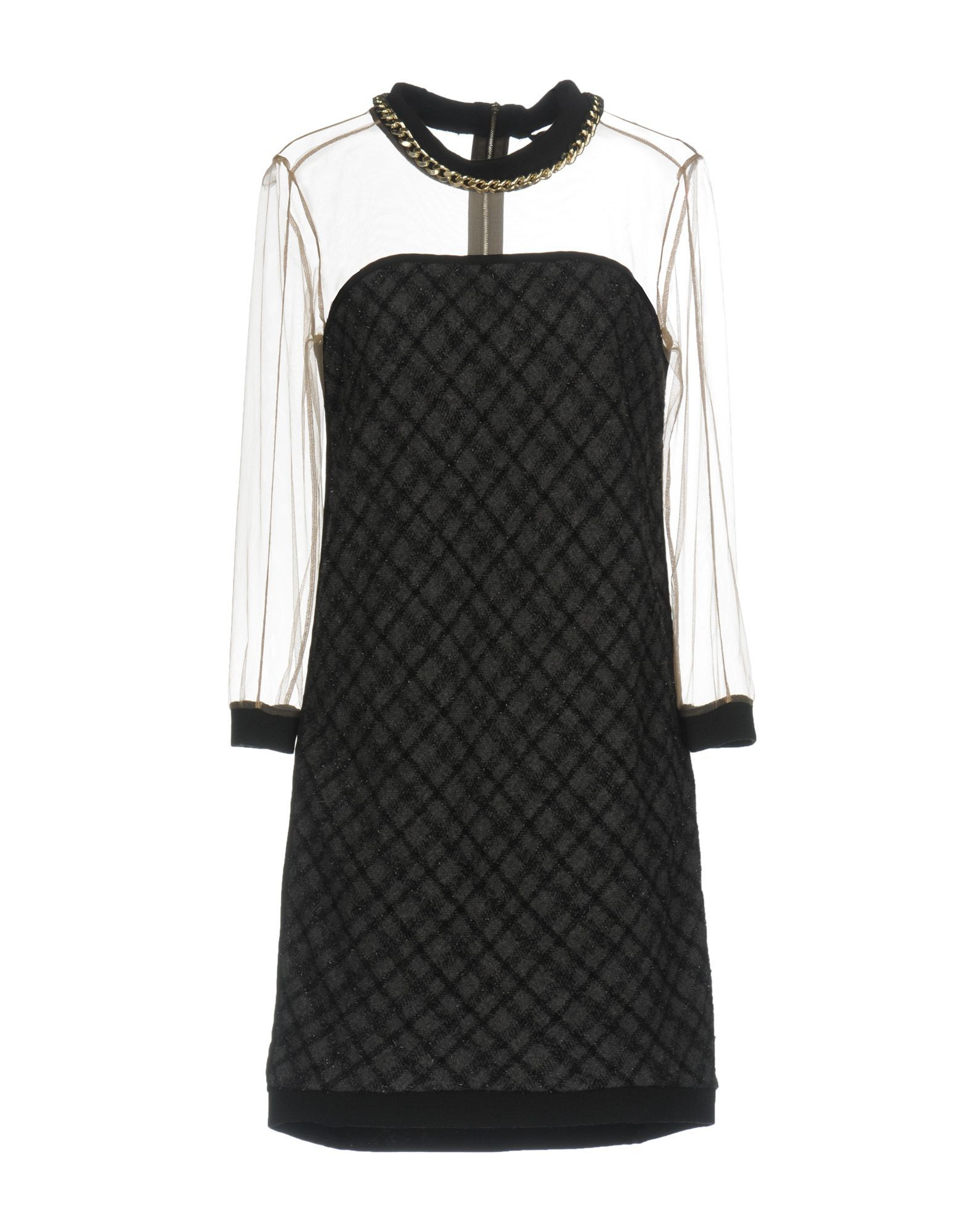 Atos Lombardini Lead Wool Knit Dress With Tulle Sleeves