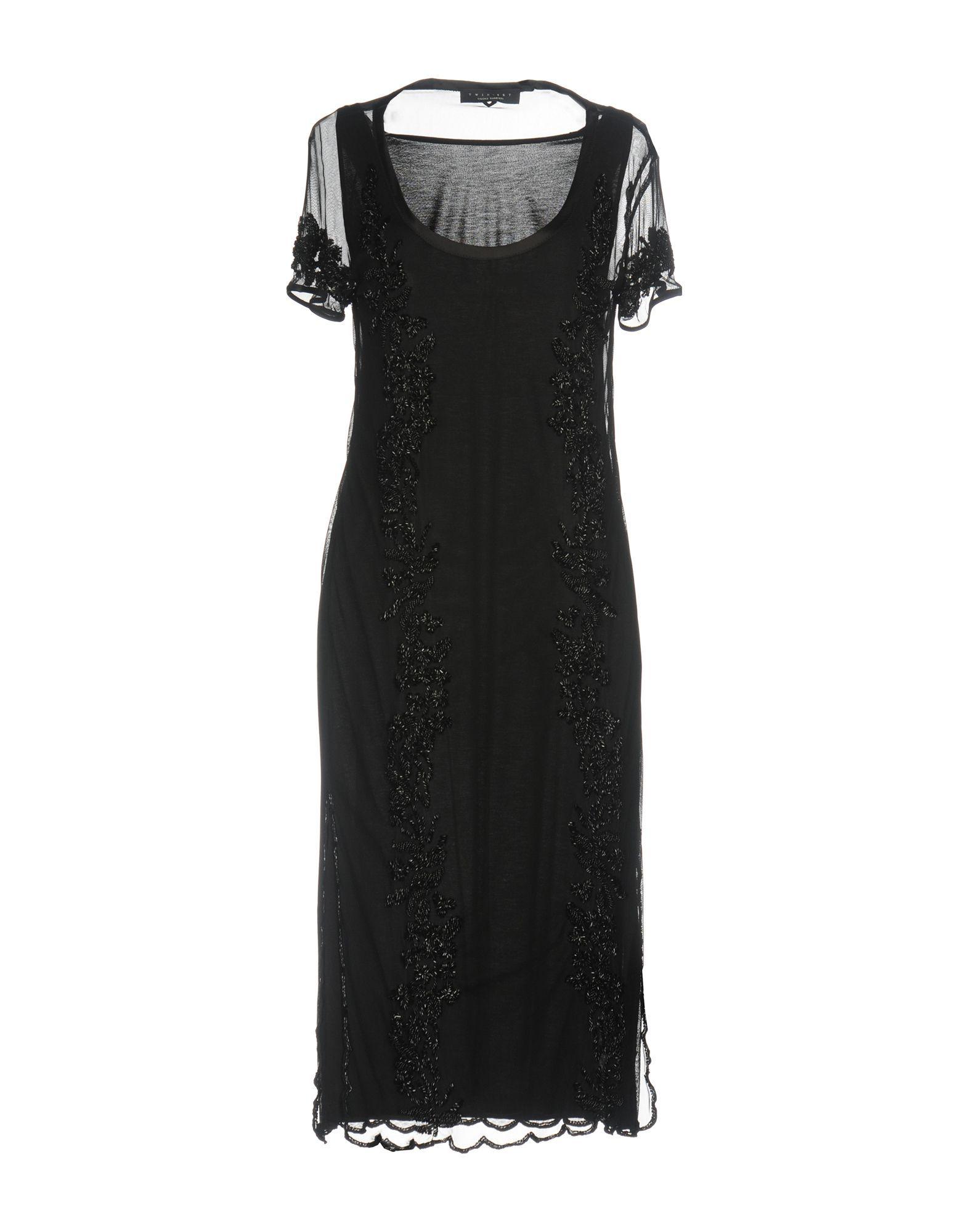 Twinset Black Beaded Short Sleeve Dress