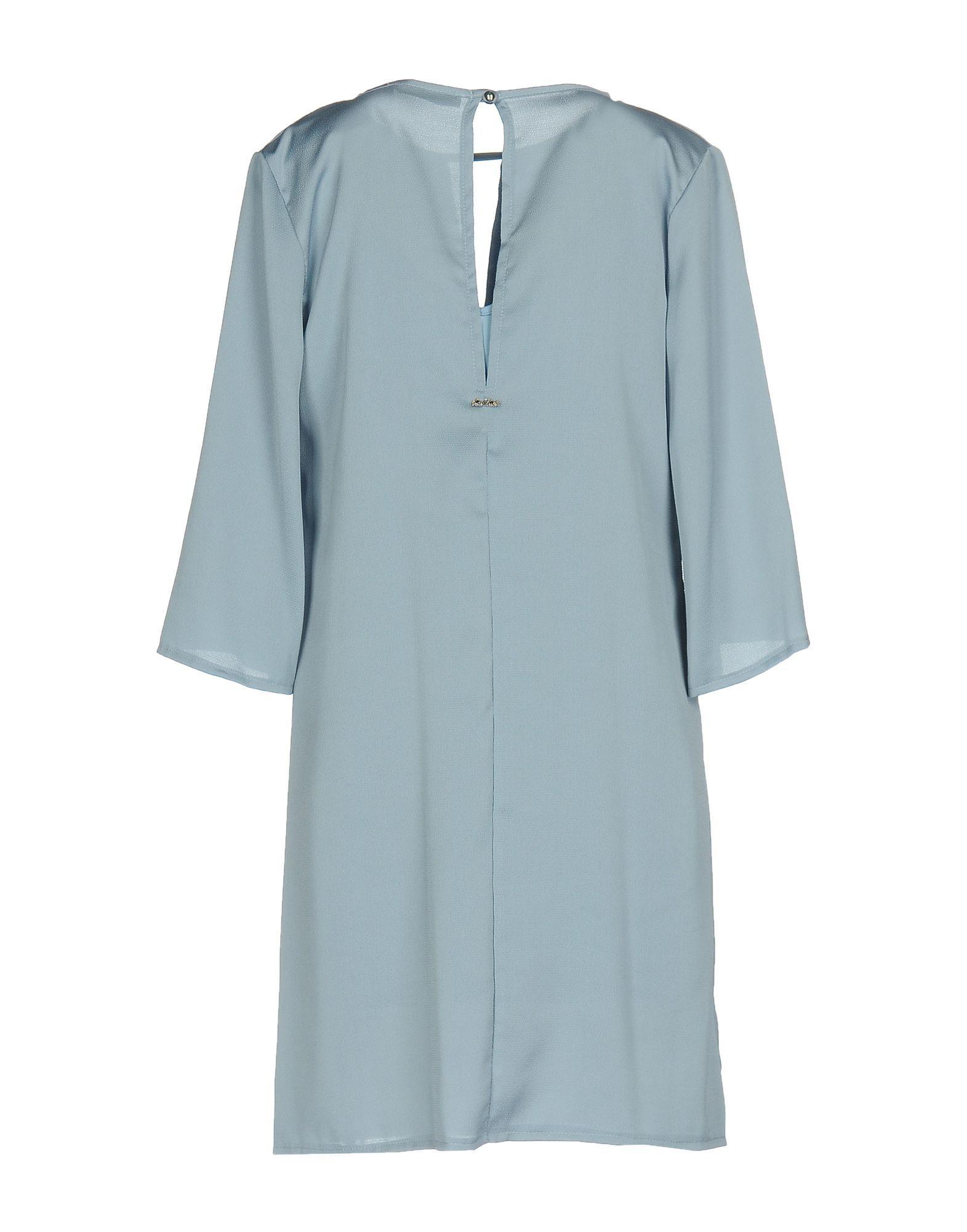 No-Na Sky Blue Crepe Long Sleeve Dress