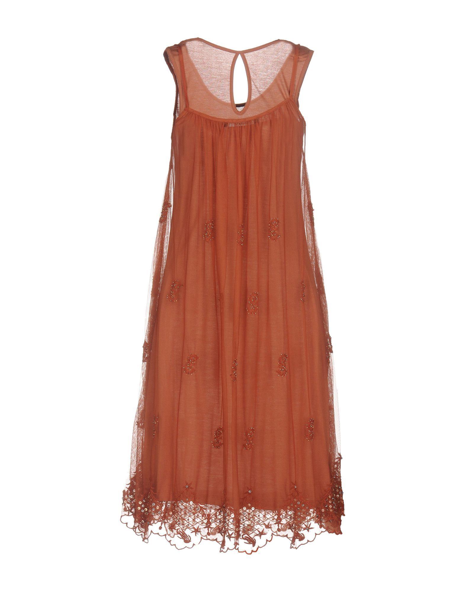 Siste' S Brick Red Tulle Overlay Dress