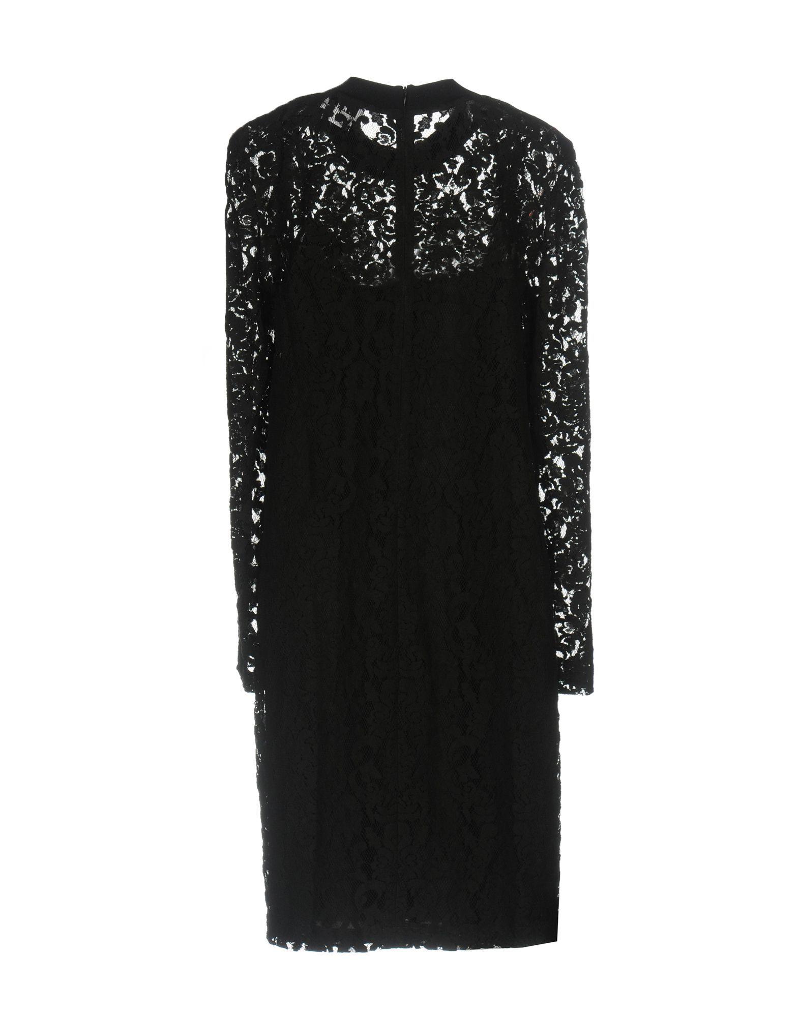 DKNY Black Cotton Lace Long Sleeve Dress