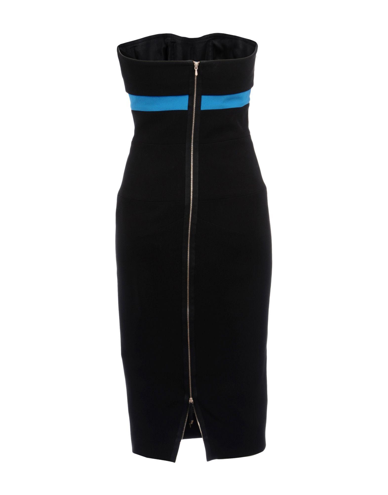 Victoria Beckham Black Silk Strapless Dress