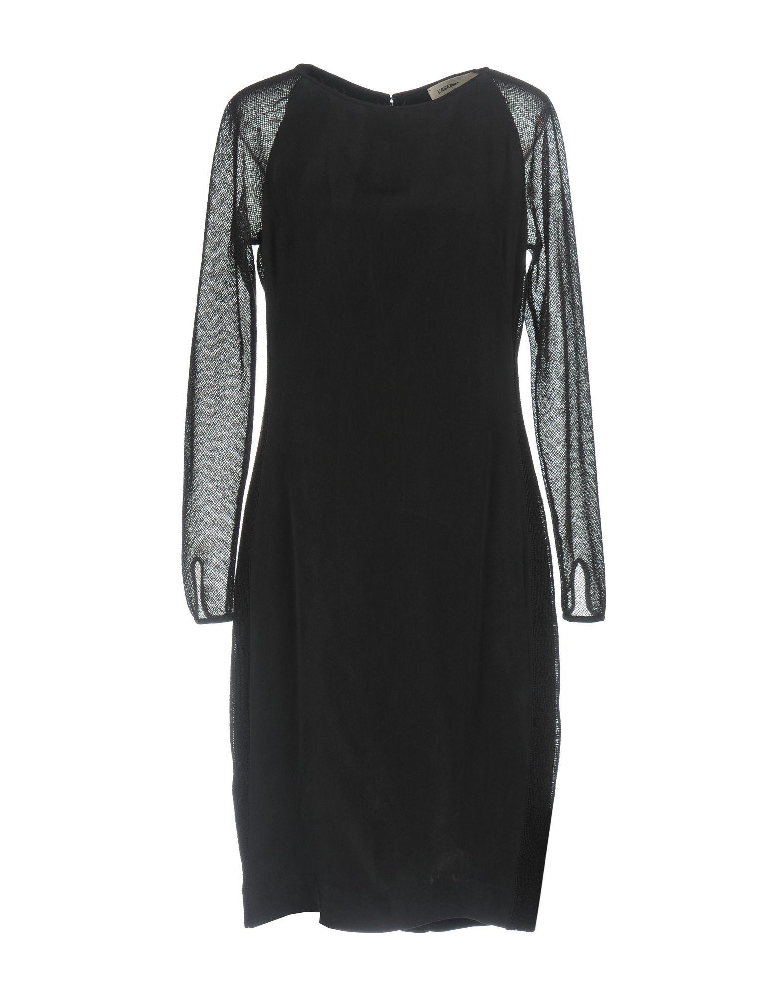 L'Agence Black Silk Knit Long Sleeve Dress