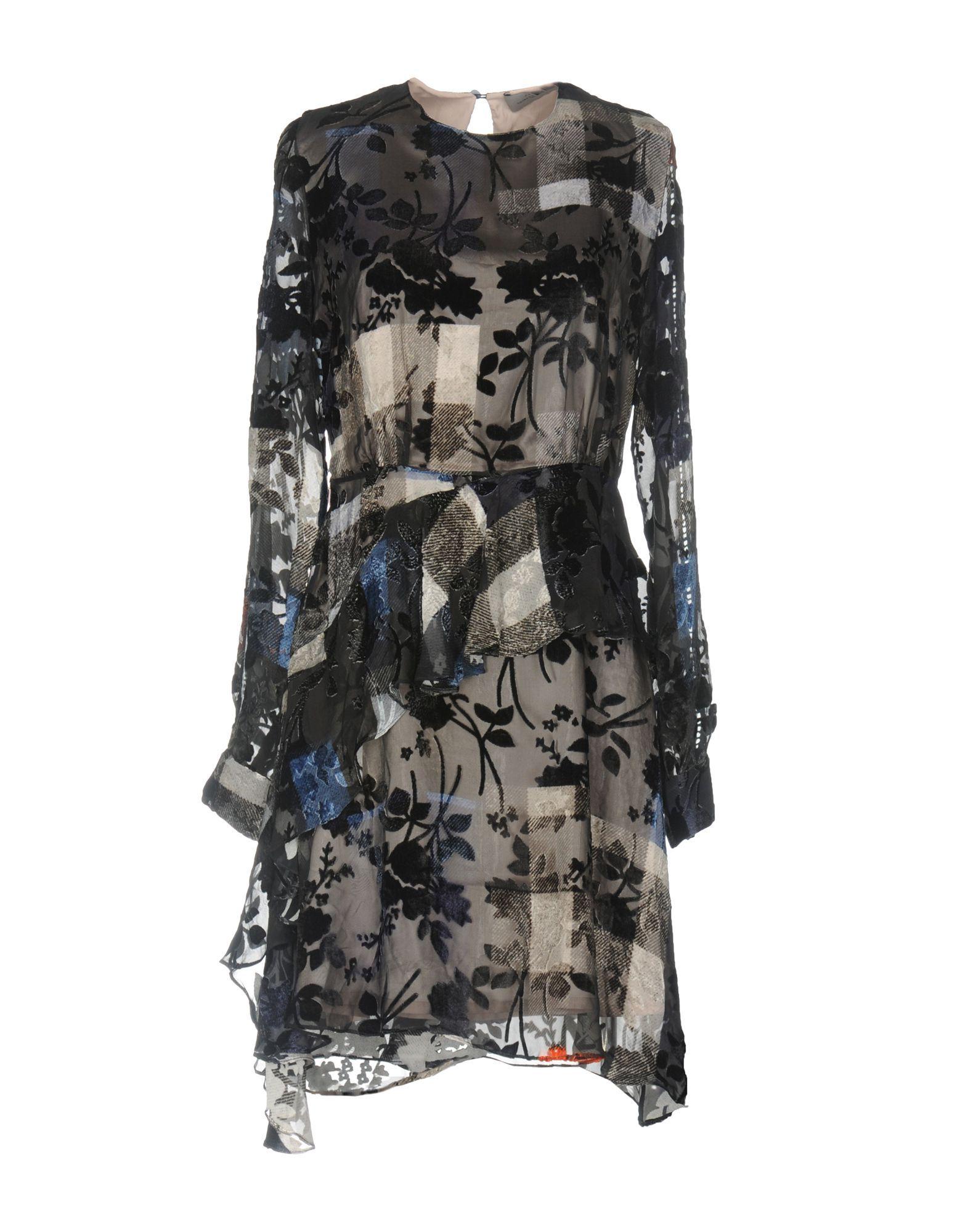 Preen By Thornton Bregazzi Dark Blue Silk Jacquard Long Sleeve Dress