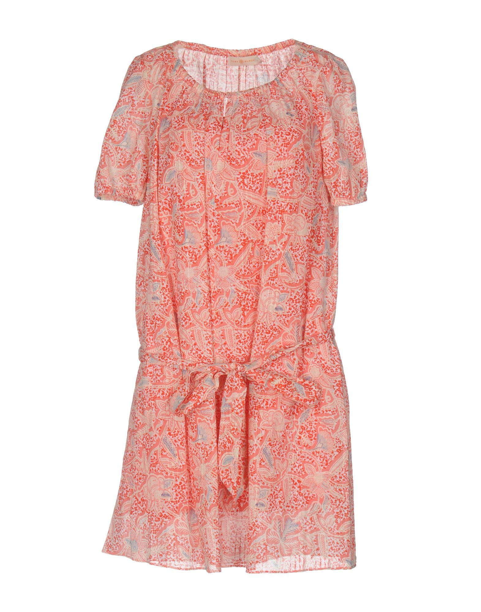 Tory Burch Red Floral Design Short Sleeve Dress
