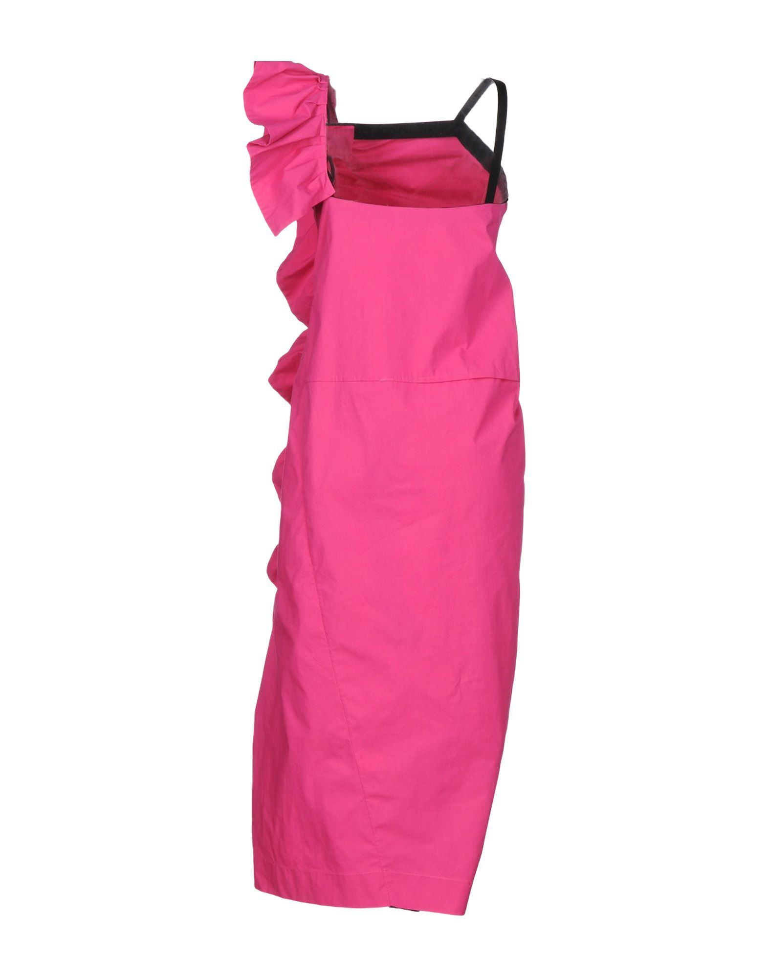 Isa Arfen Fuchsia Cotton Ruffle Dress