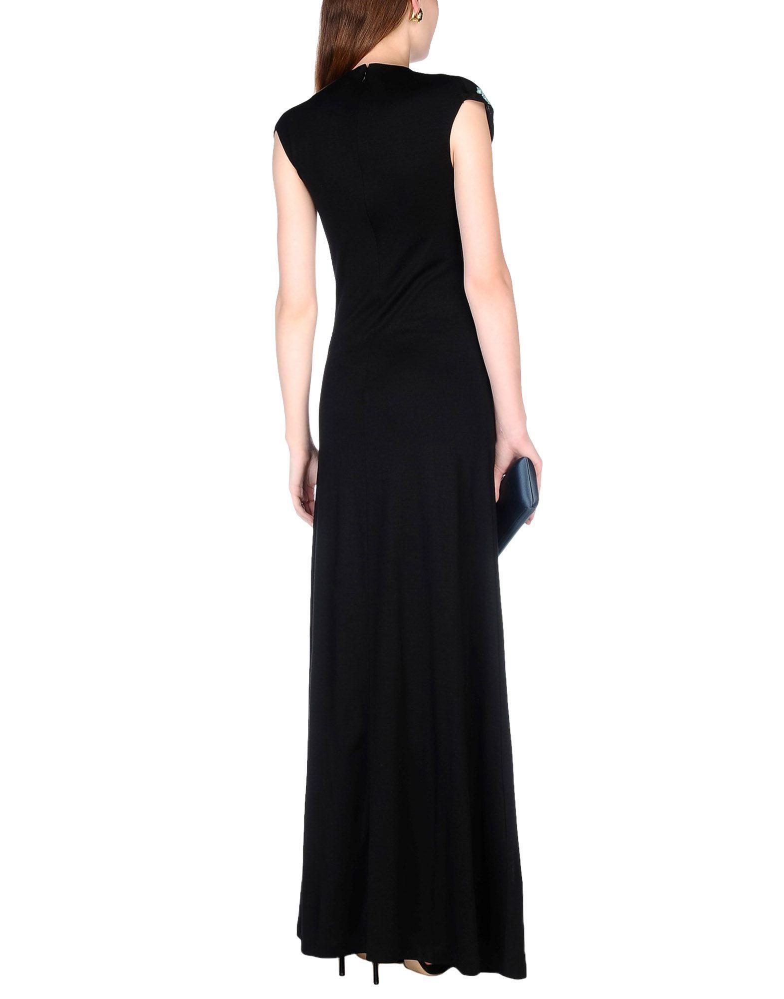 Diane Von Furstenberg Black Embellished Full Length Dress