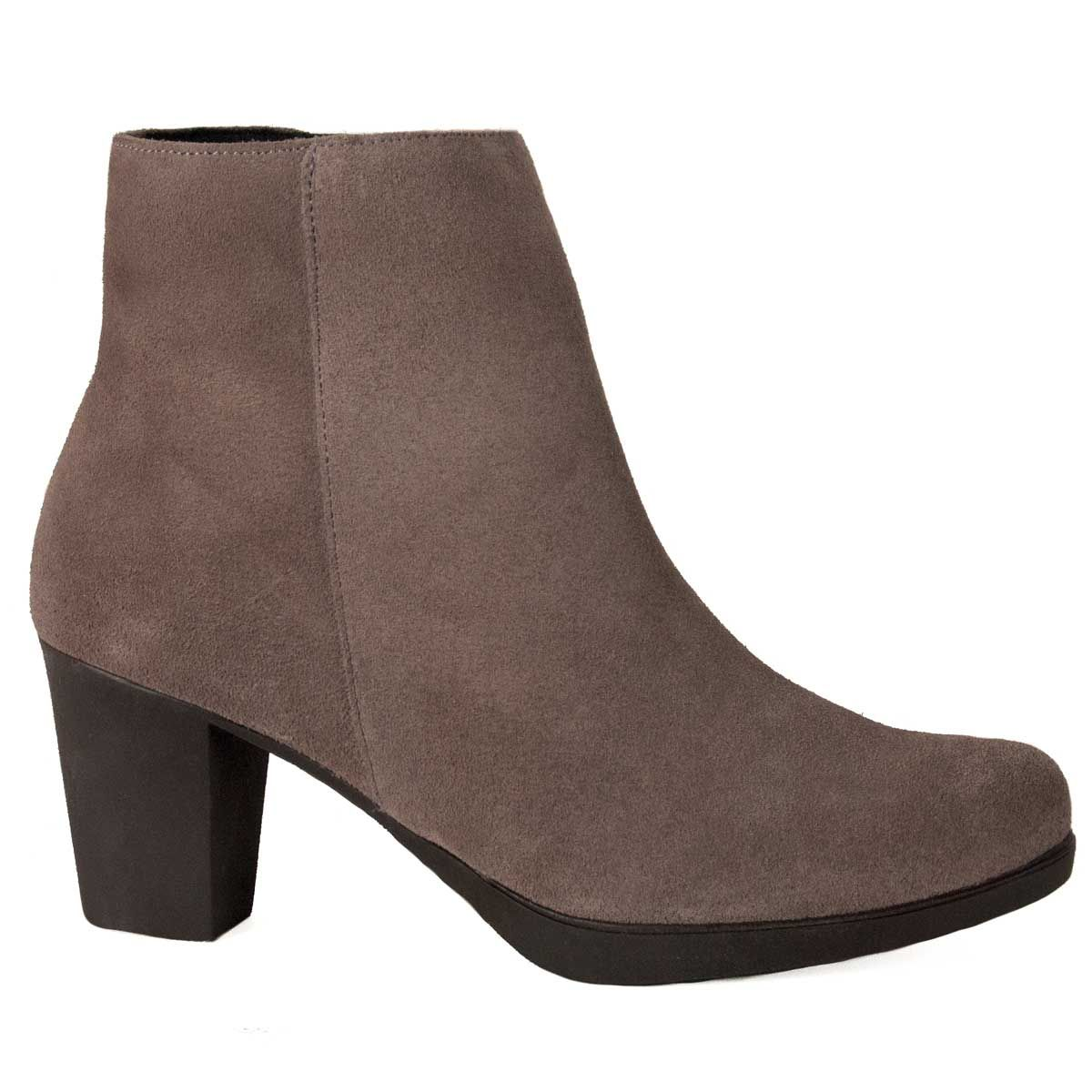 Purapiel Heeled Ankle Boot in Grey