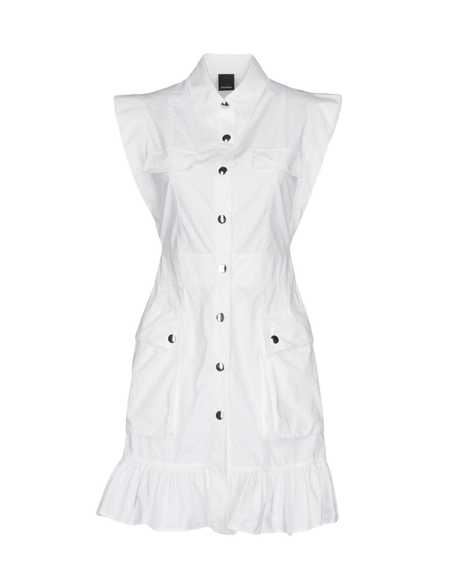 Pinko White Cotton Shirt Dress