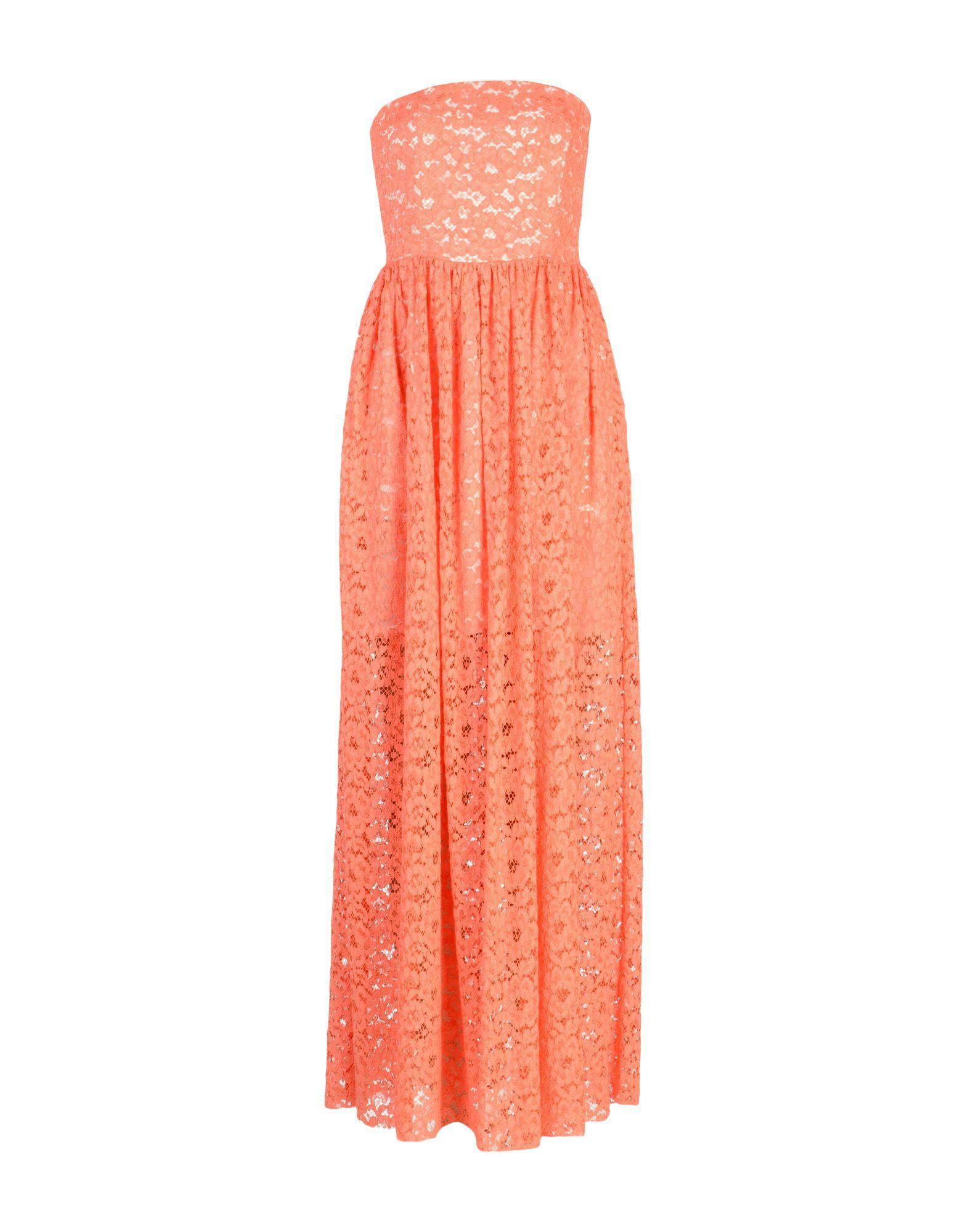 MSGM Salmon Pink Lace Full Length Strapless Dress