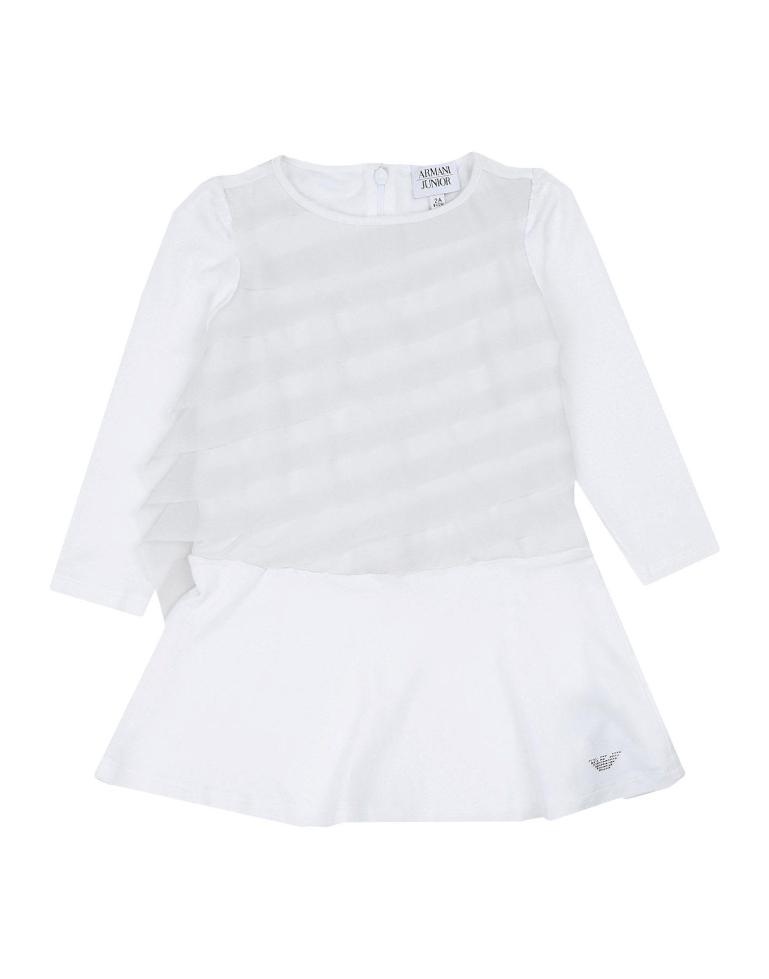 Armani Junior White Girl Viscose Dress/Bodysuit