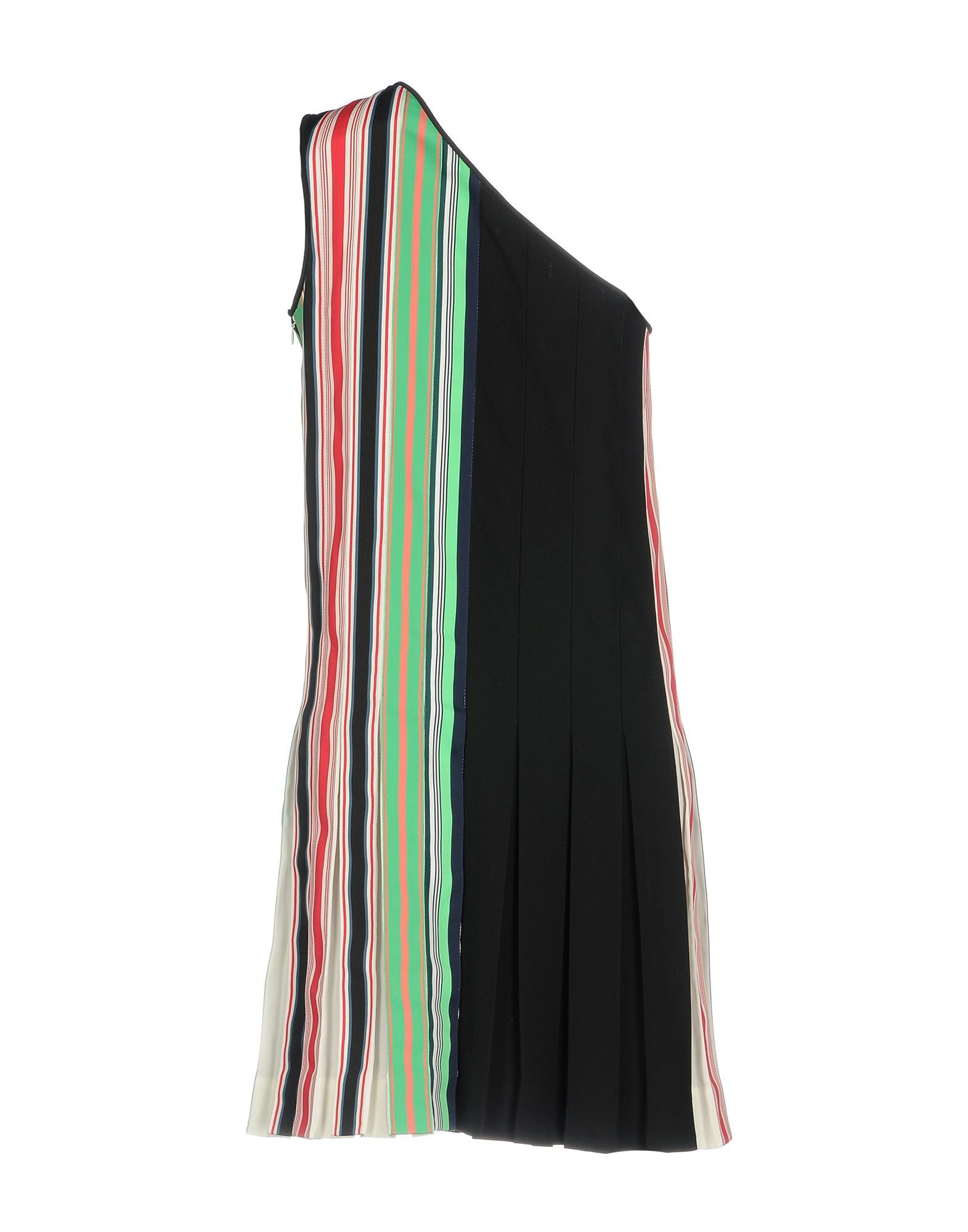 Diane Von Furstenberg Black Stripe One Shoulder Dress