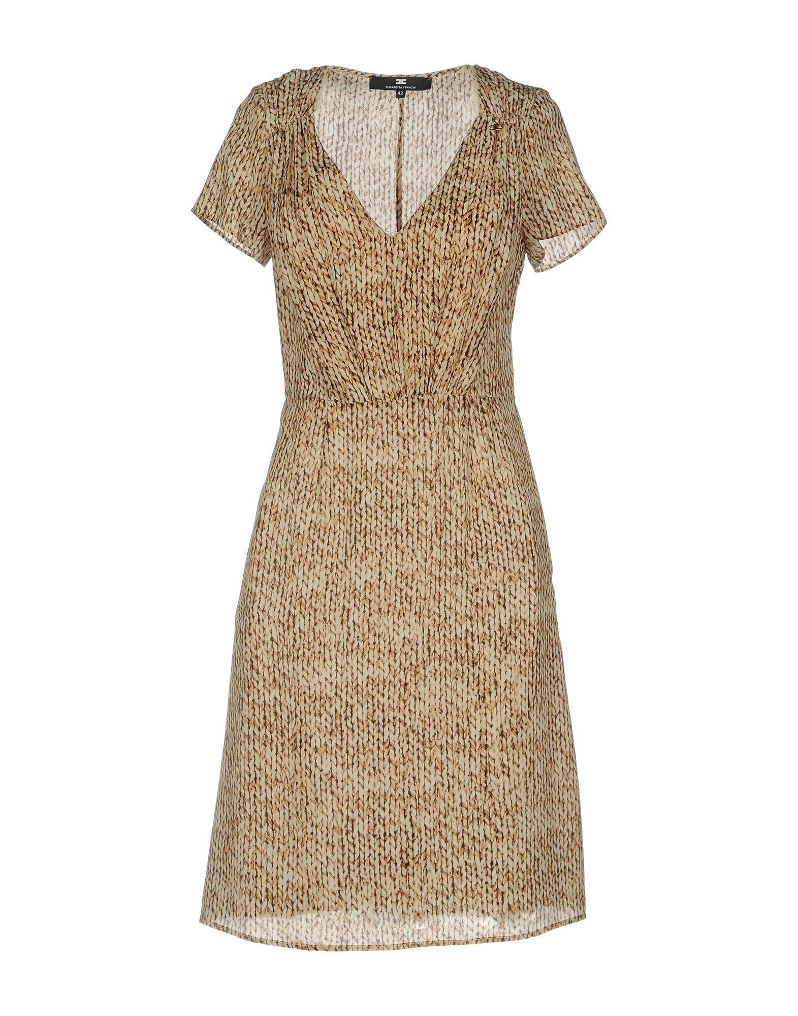 Elisabetta Franchi Sand Print Silk Short Dress