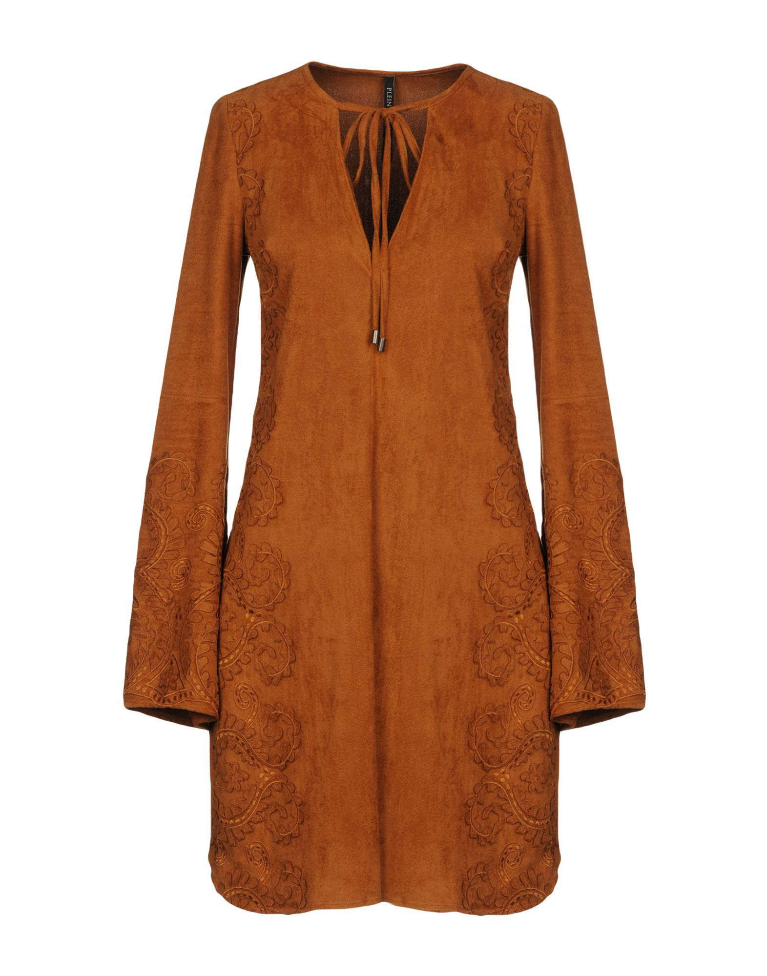 Plein Sud Brown Embroidered Long Sleeve Dress